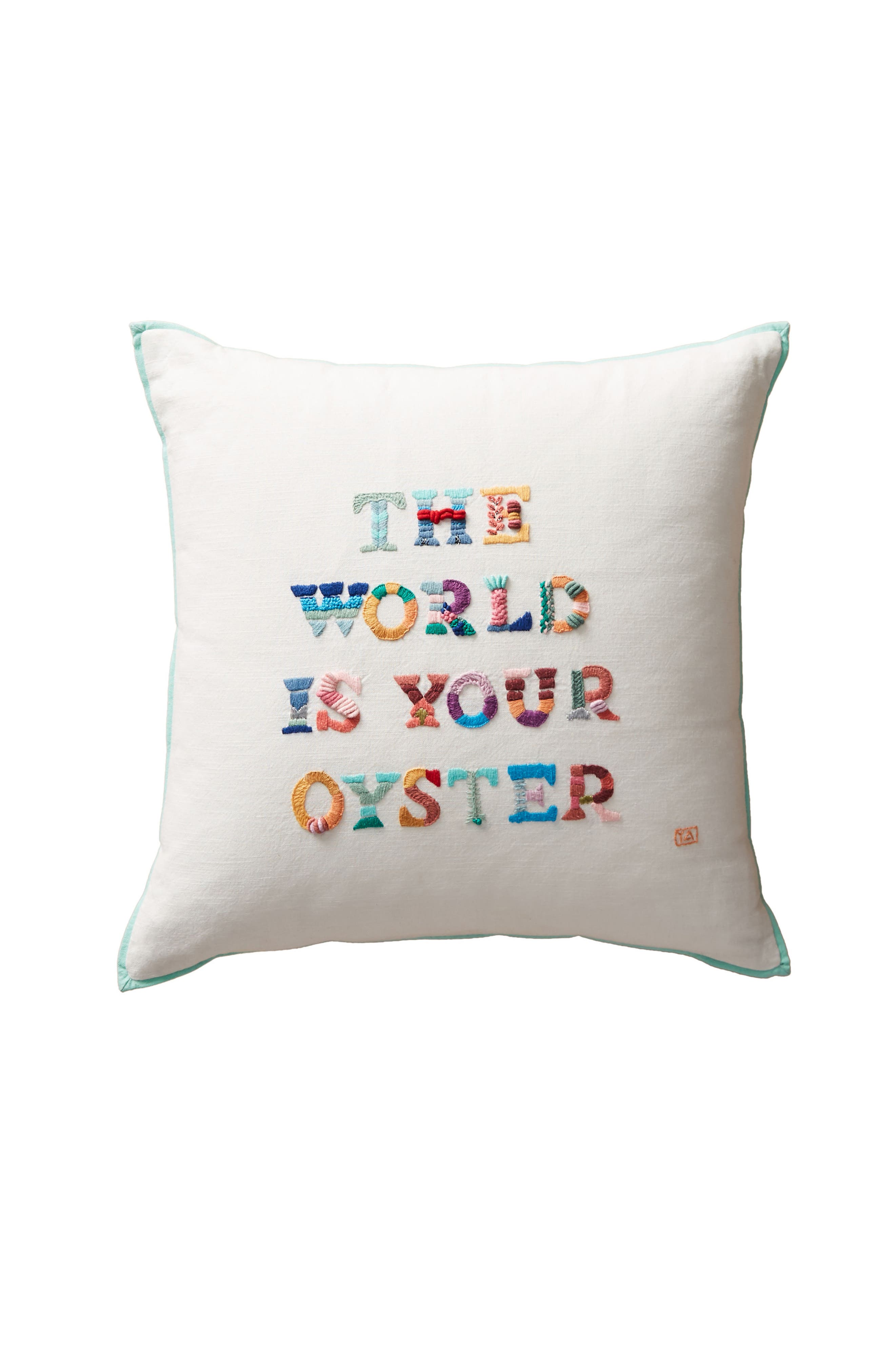 The World Is Your Oyster Accent Pillow,                             Alternate thumbnail 3, color,                             White Multi