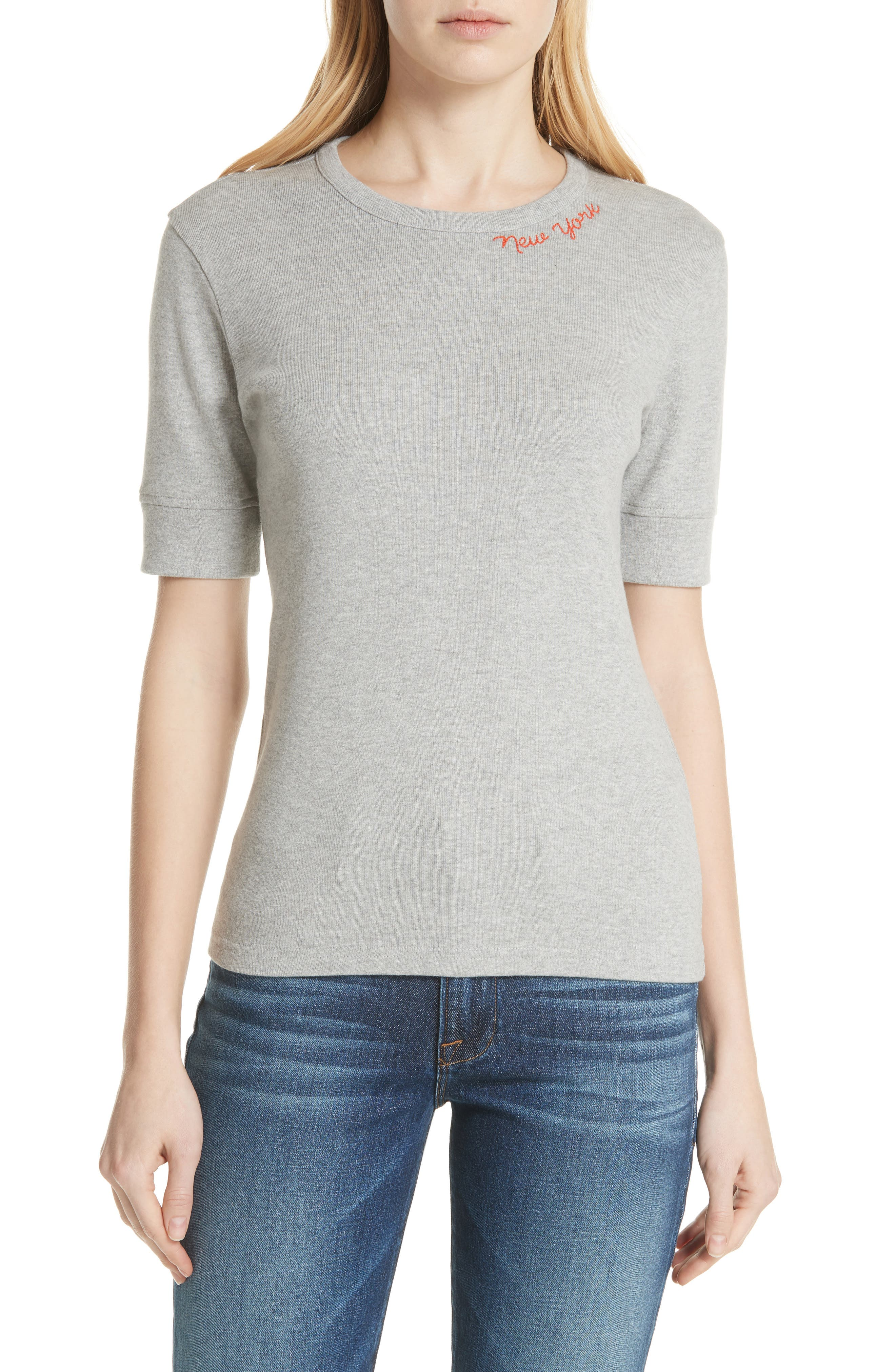 New York Embroidered True Crew Tee,                         Main,                         color, Gris
