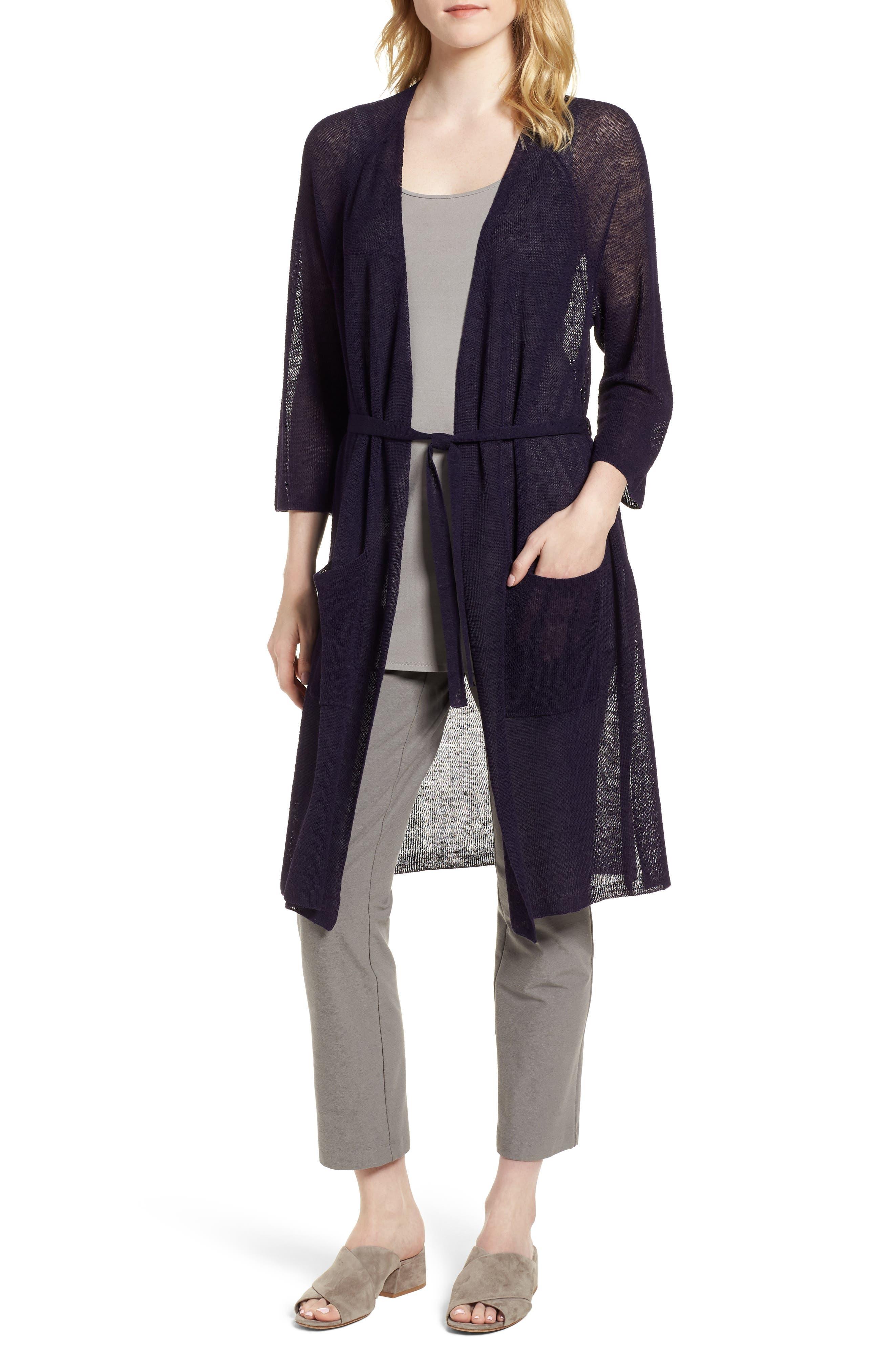 Long Organic Linen Blend Kimono Cardigan,                             Main thumbnail 1, color,                             Salt Lake