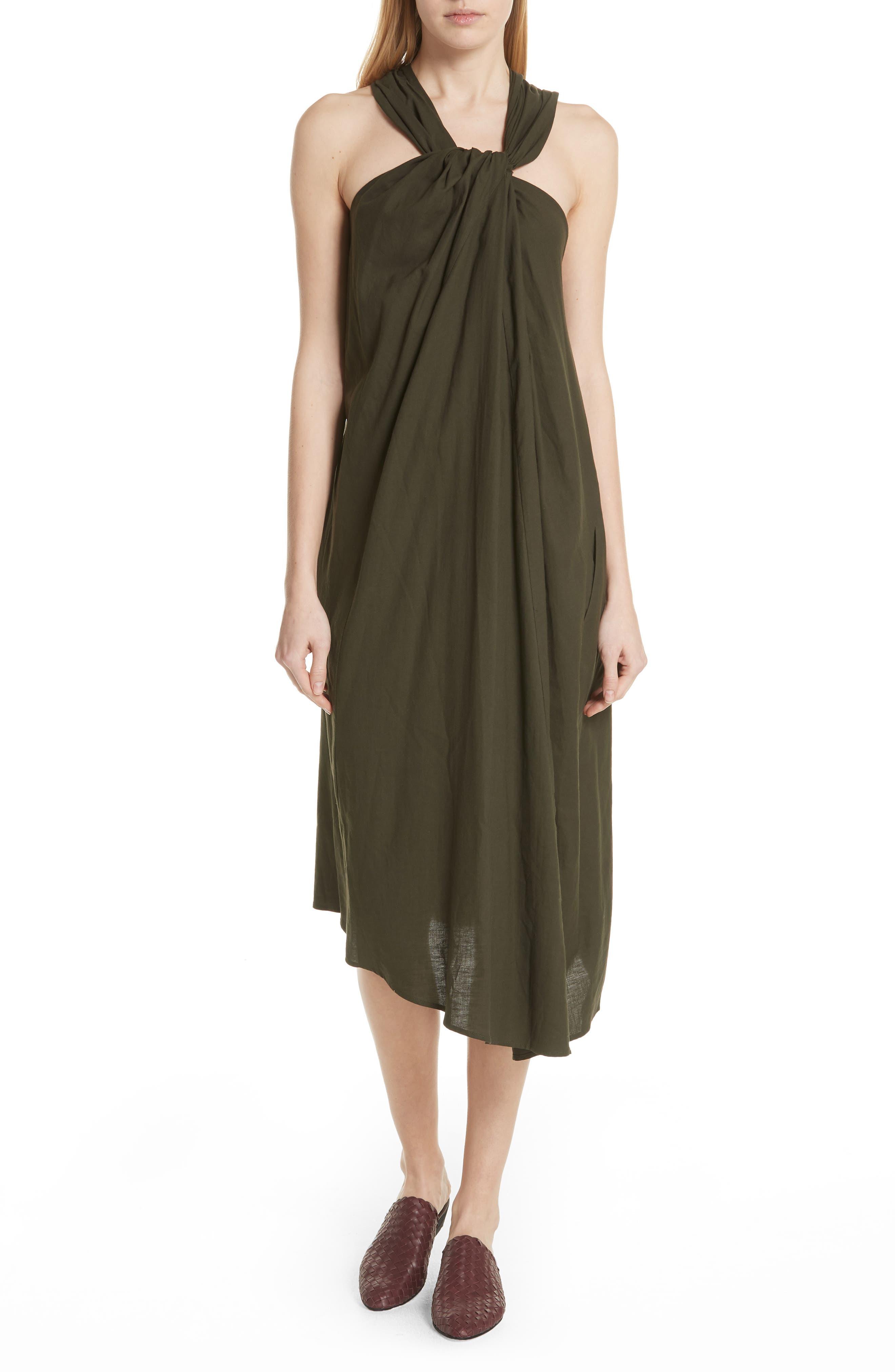 Twist Front Dress,                         Main,                         color, Pinon Green