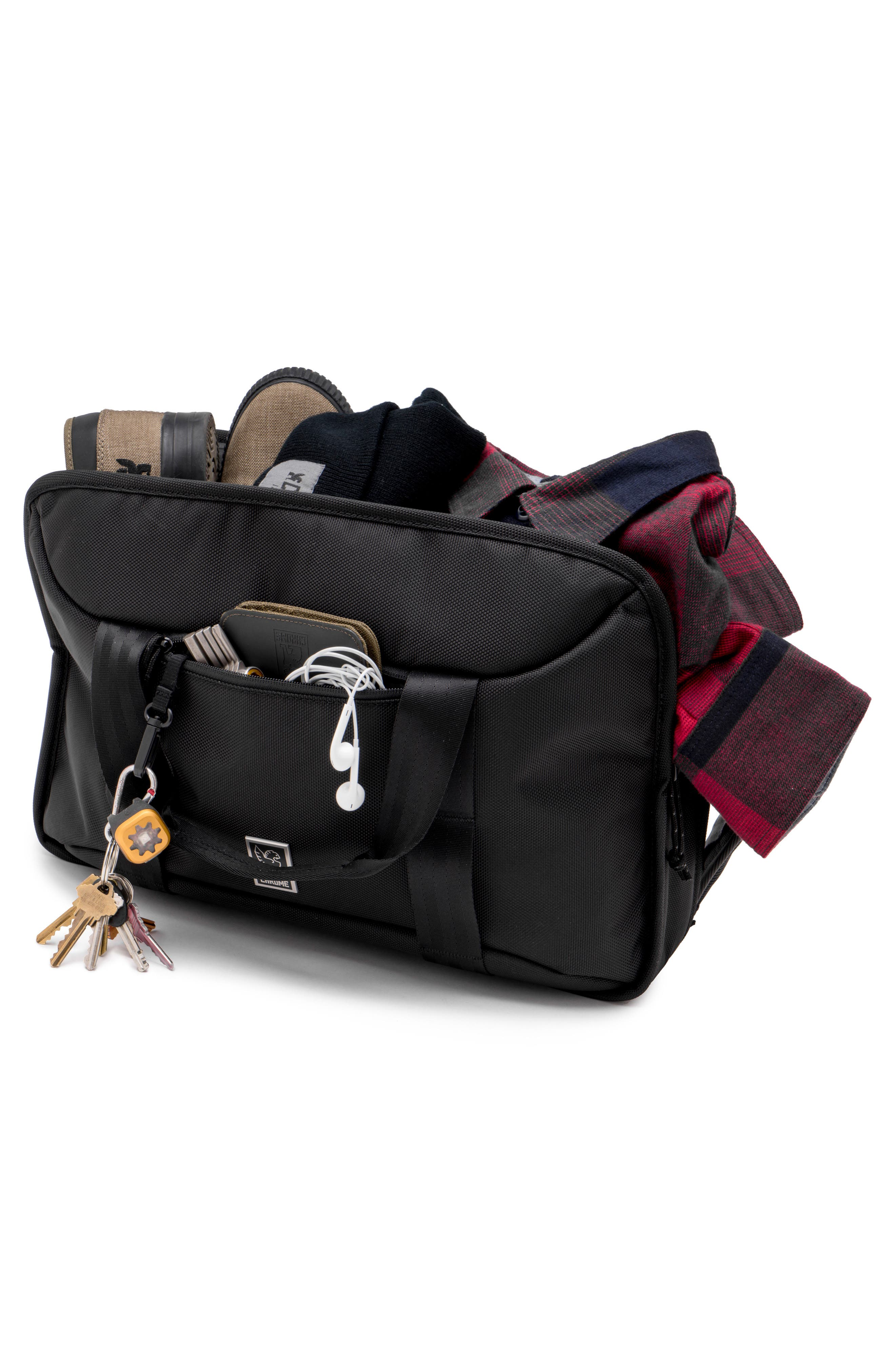Treadwell Travel Vega Convertible Briefcase,                             Alternate thumbnail 4, color,                             All Black