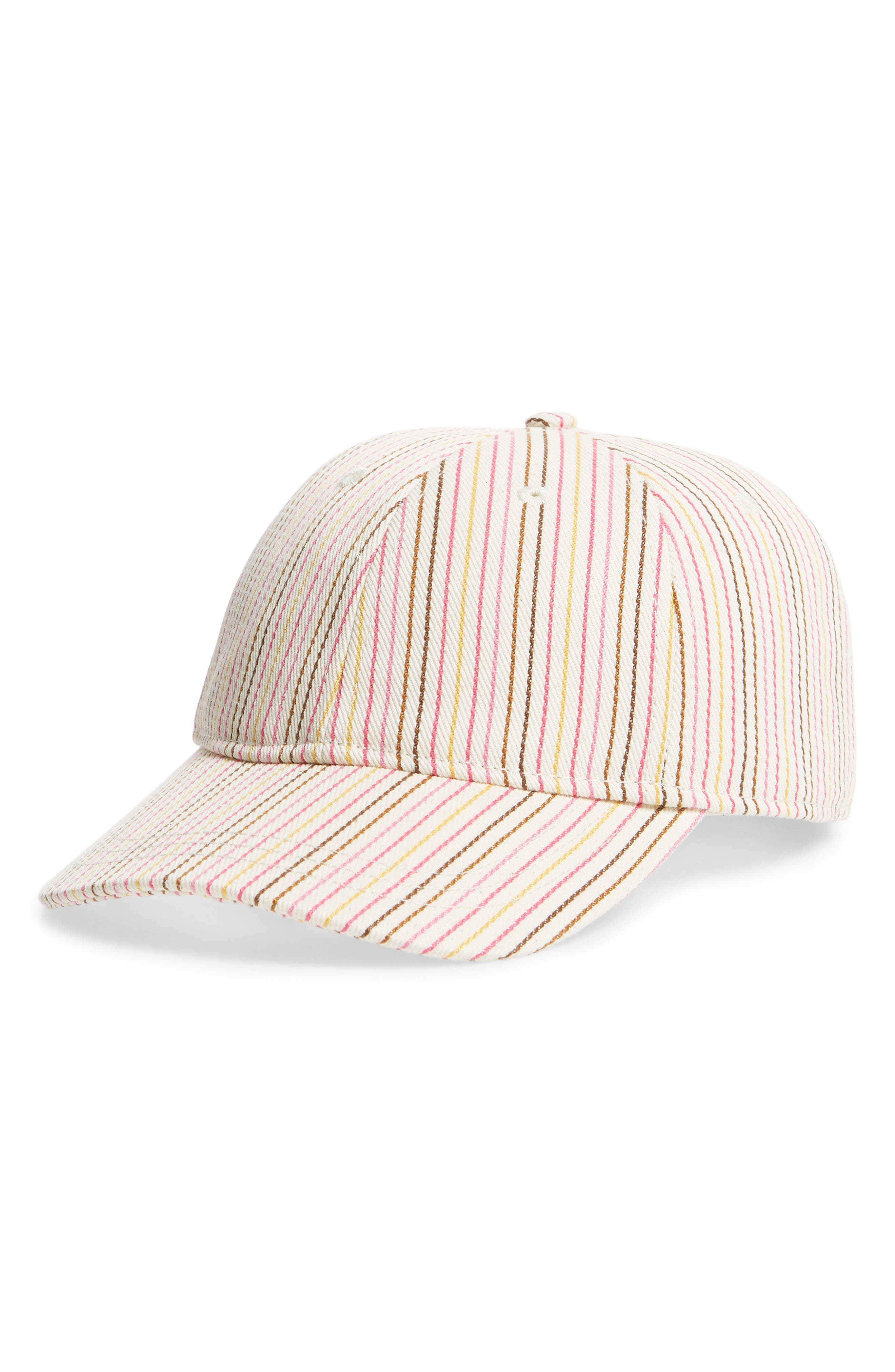 Multi Stripe Baseball Cap,                             Main thumbnail 1, color,                             Pink Multi Stripe