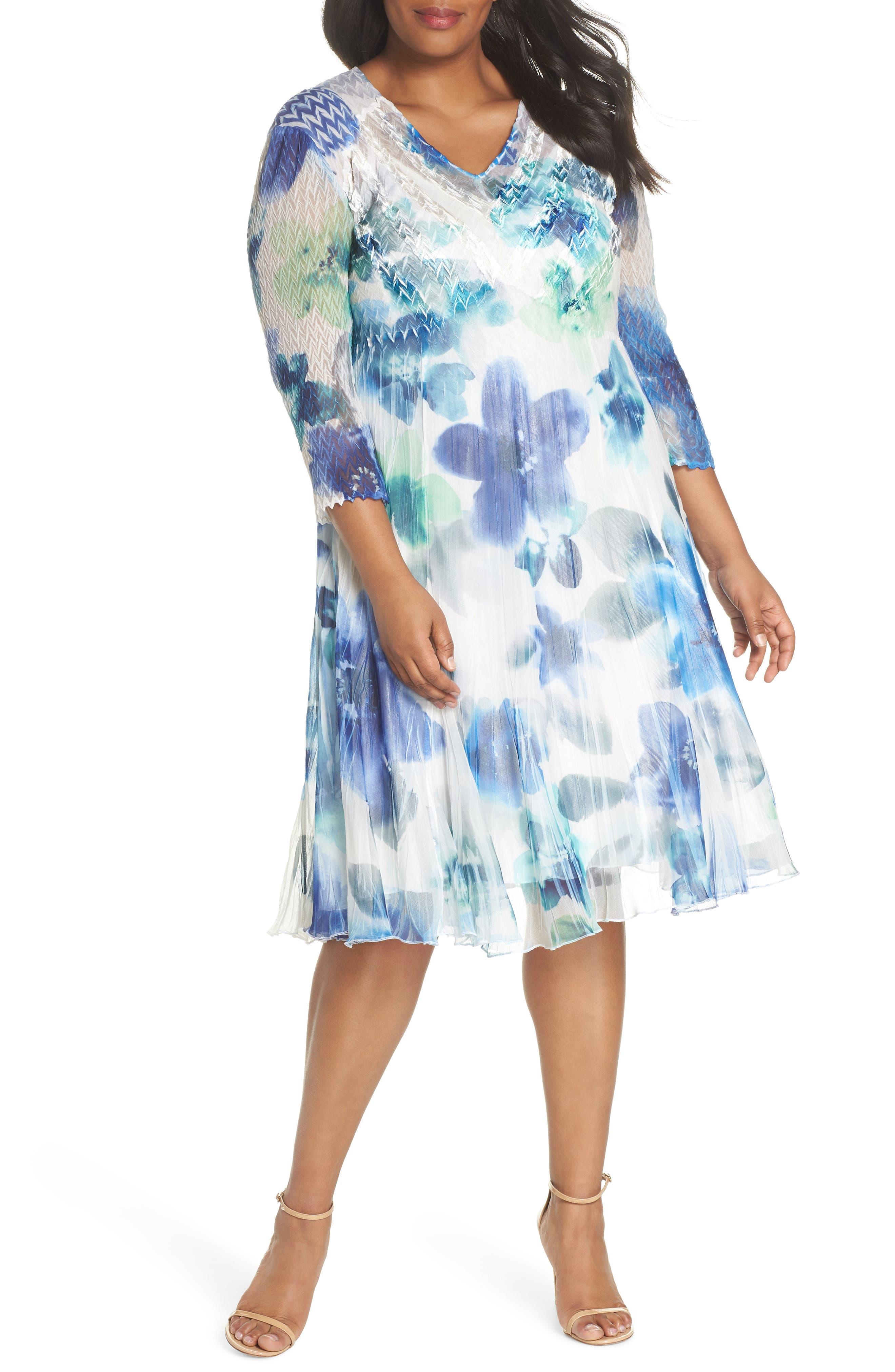 Floral Chiffon A-Line Dress,                         Main,                         color, Azure Meadow