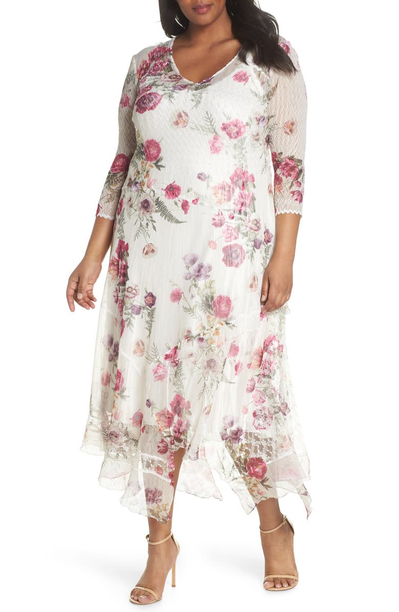 Floral Handkerchief Hem Charmeuse Midi Dress
