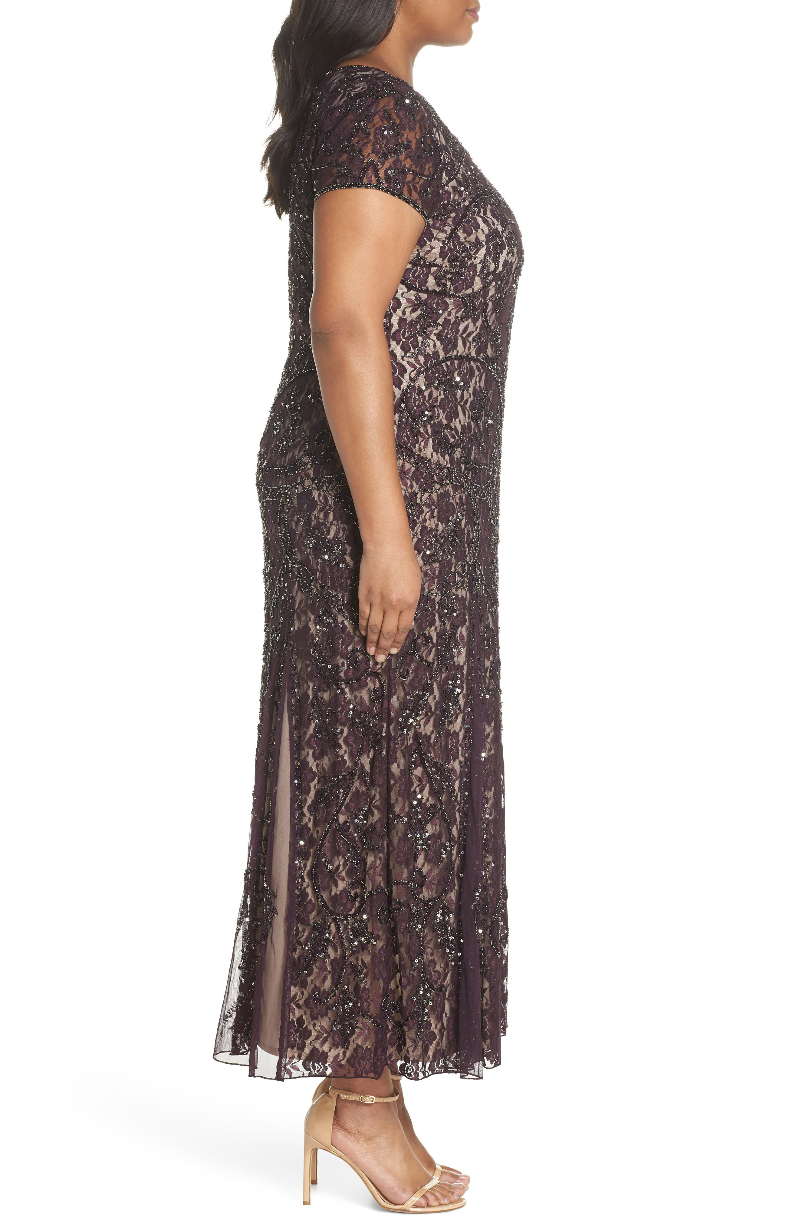 Embellished Lace A-Line Dress,                             Alternate thumbnail 3, color,                             Plum