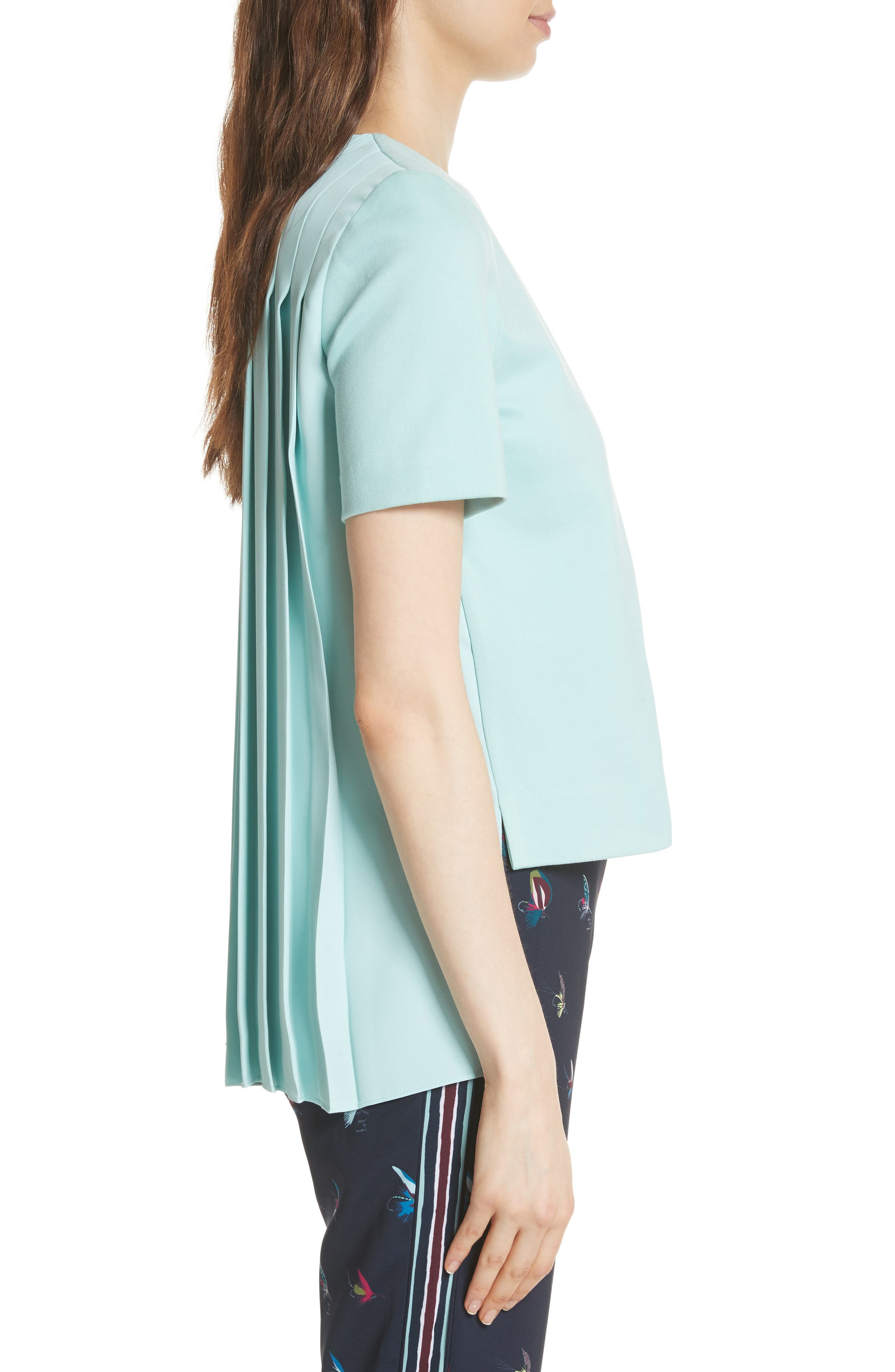 Colour by Numbers Naevaa Pleat Back Top,                             Alternate thumbnail 3, color,                             Mint