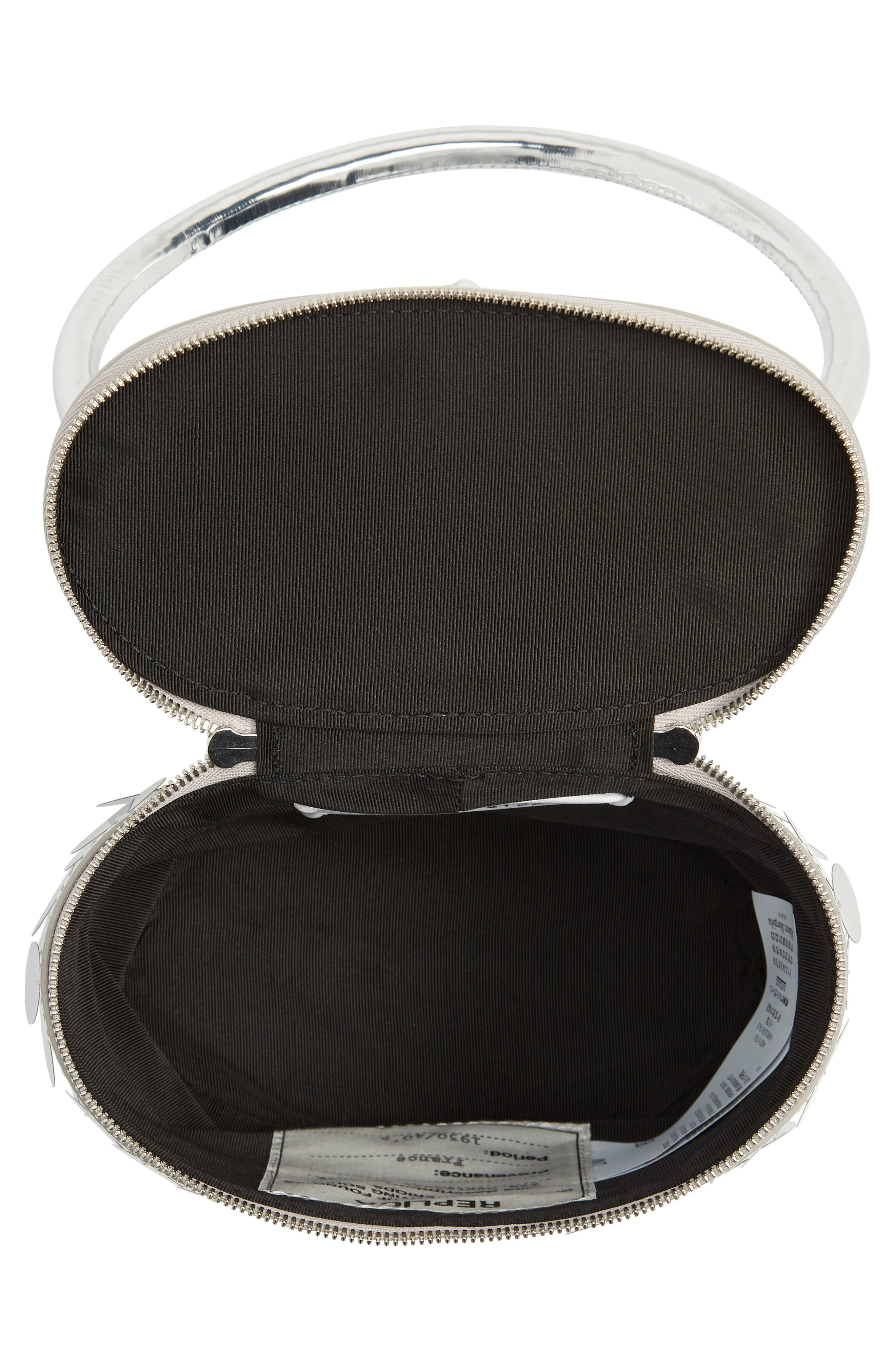 Top Handle Metallic Leather Box Clutch,                             Alternate thumbnail 4, color,                             Silver