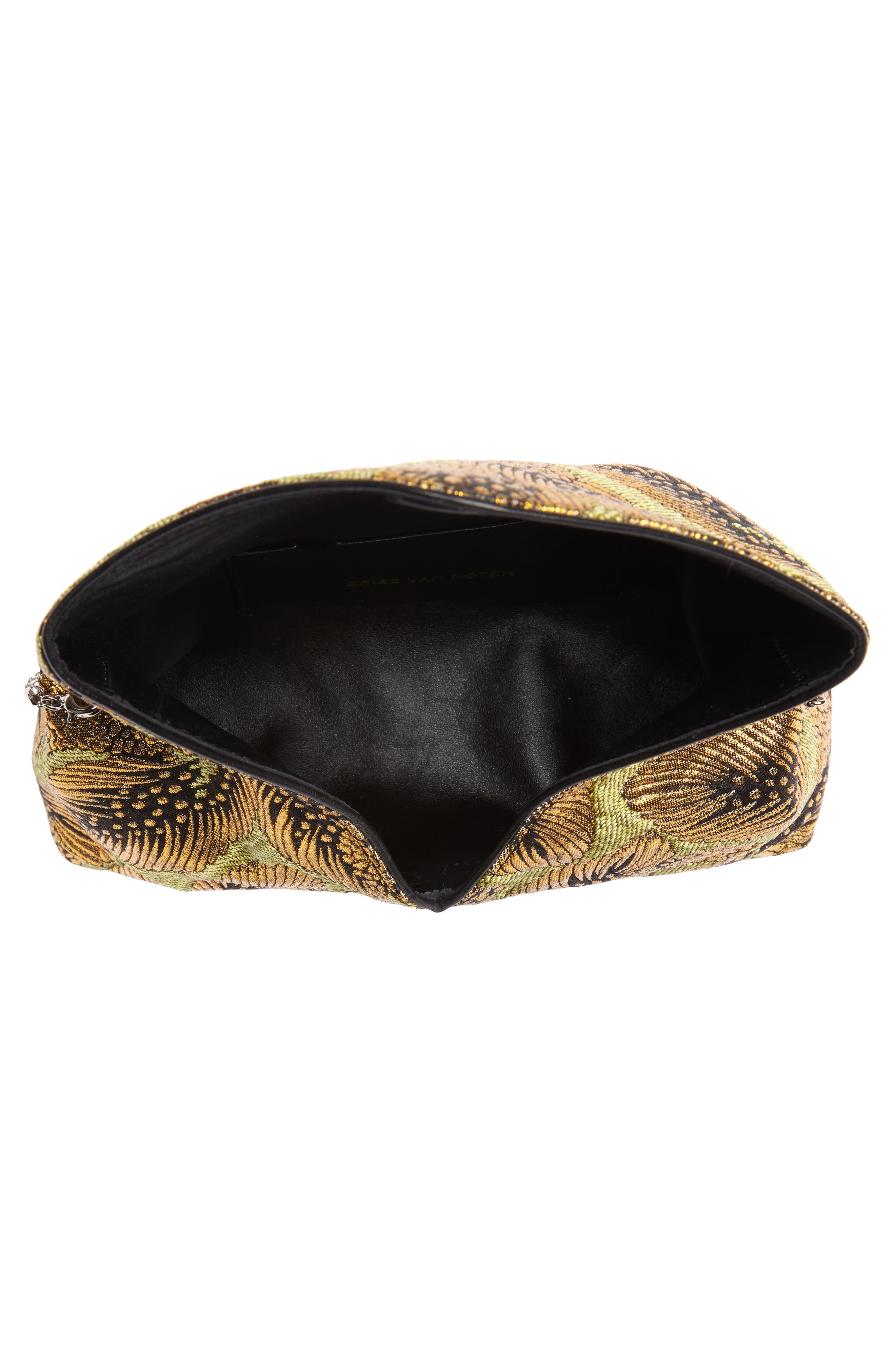 Small Metallic Feather Envelope Clutch,                             Alternate thumbnail 4, color,                             Gold