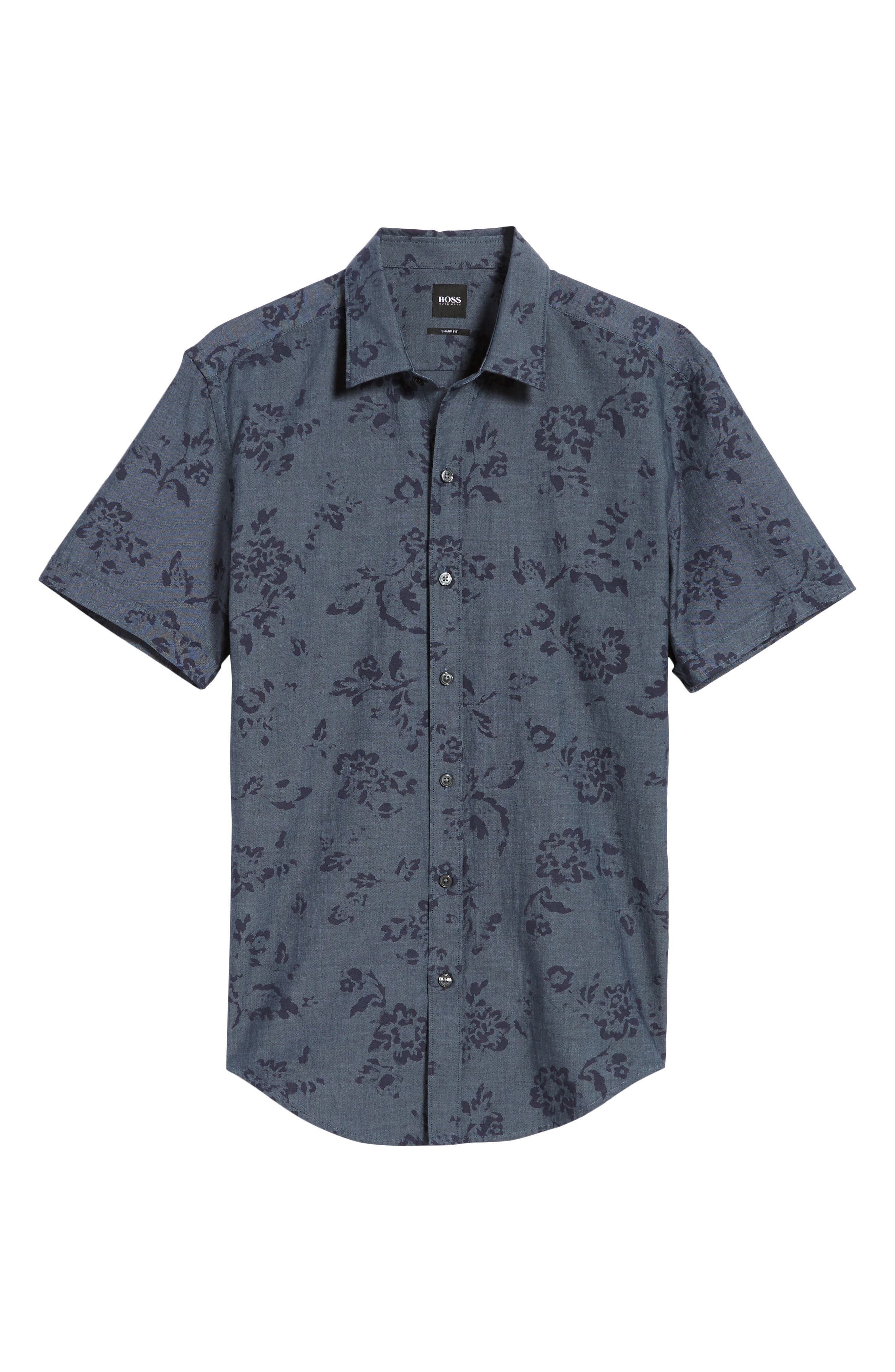 Robb Trim Fit Floral Short Sleeve Sport Shirt,                             Alternate thumbnail 6, color,                             Navy