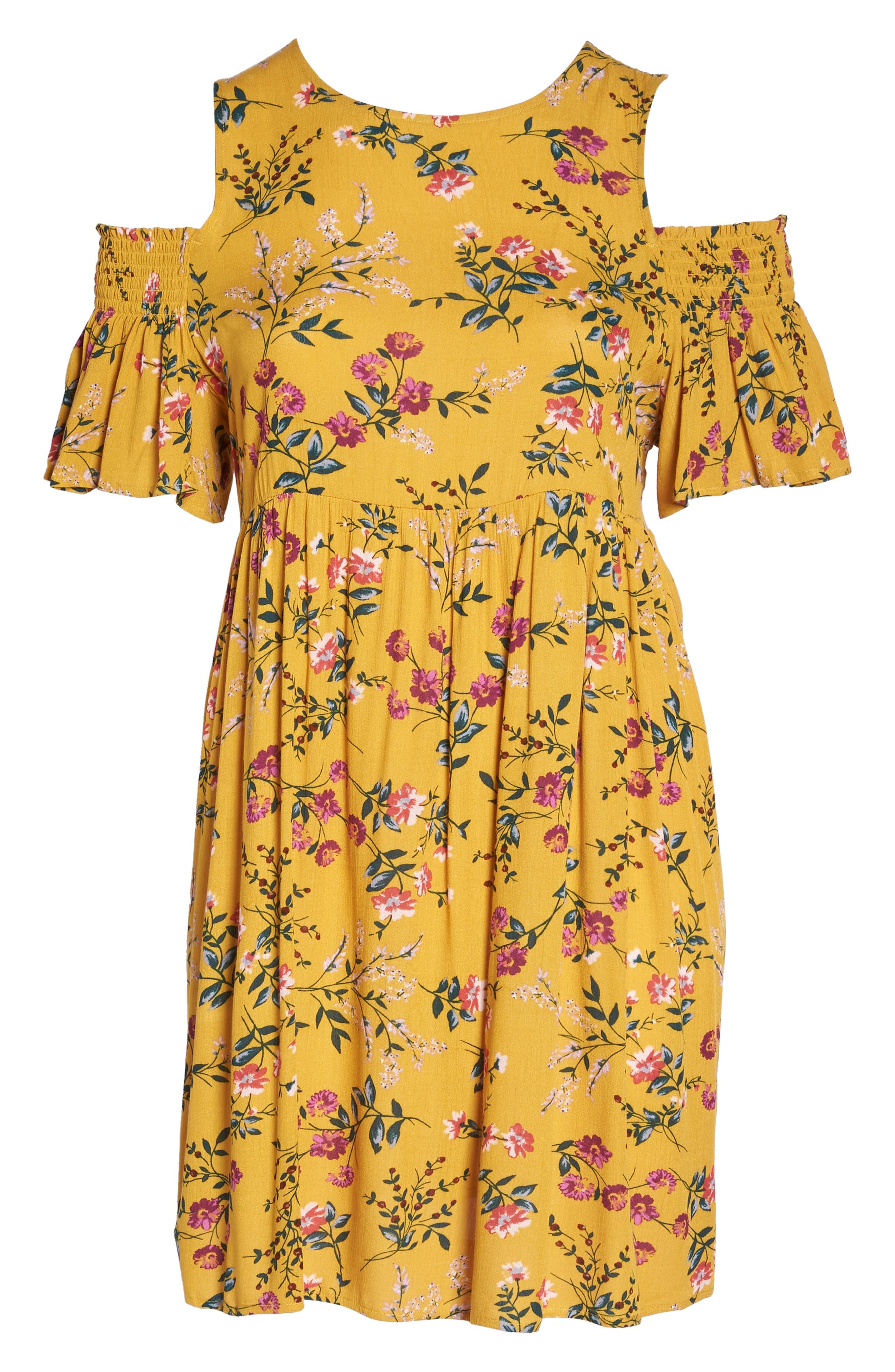 Floral Smocked Cold Shoulder Dress,                             Alternate thumbnail 7, color,                             Mustard Multi Floral