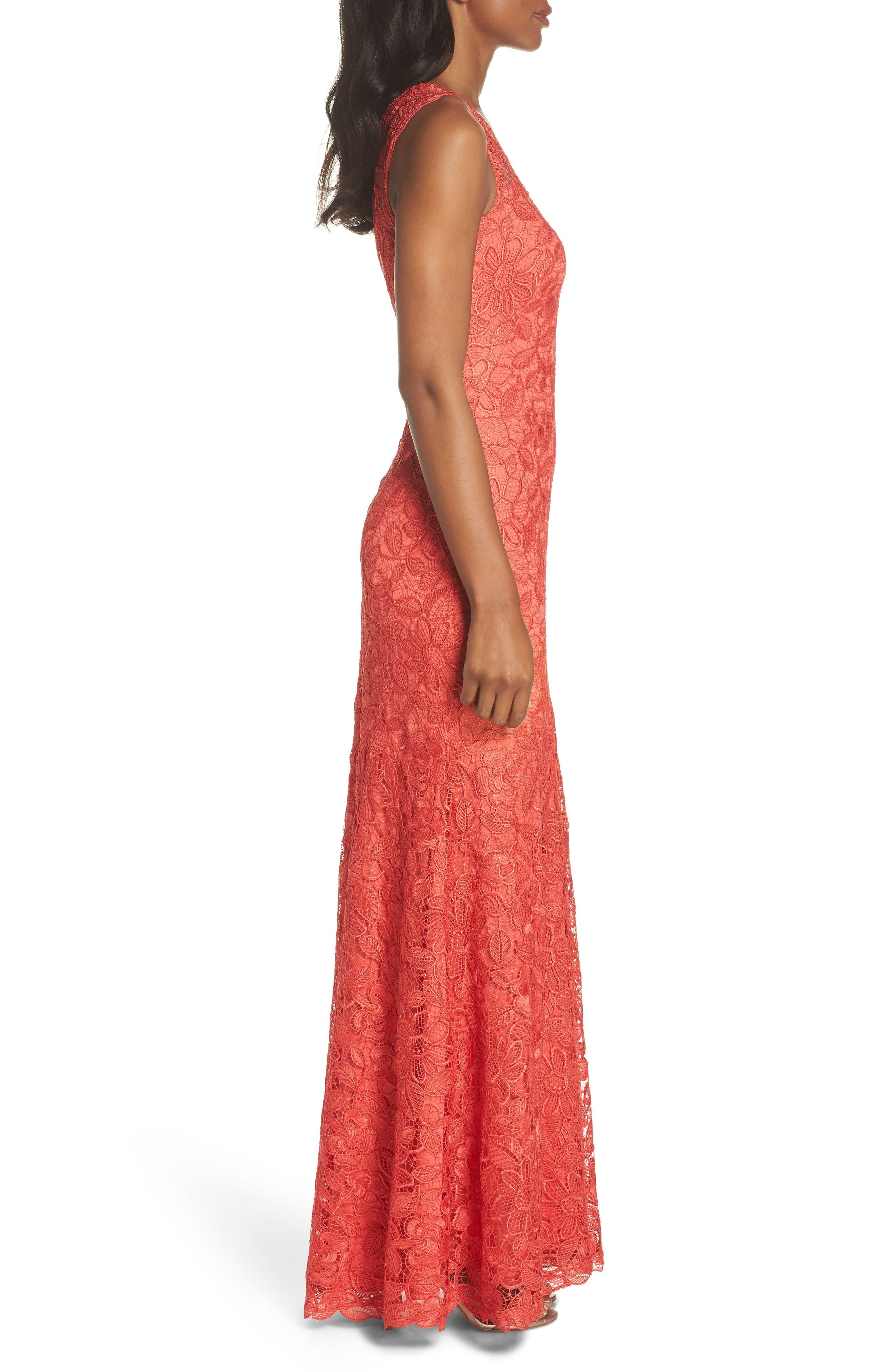Floral Lace Trumpet Gown,                             Alternate thumbnail 3, color,                             Red/ Jasper