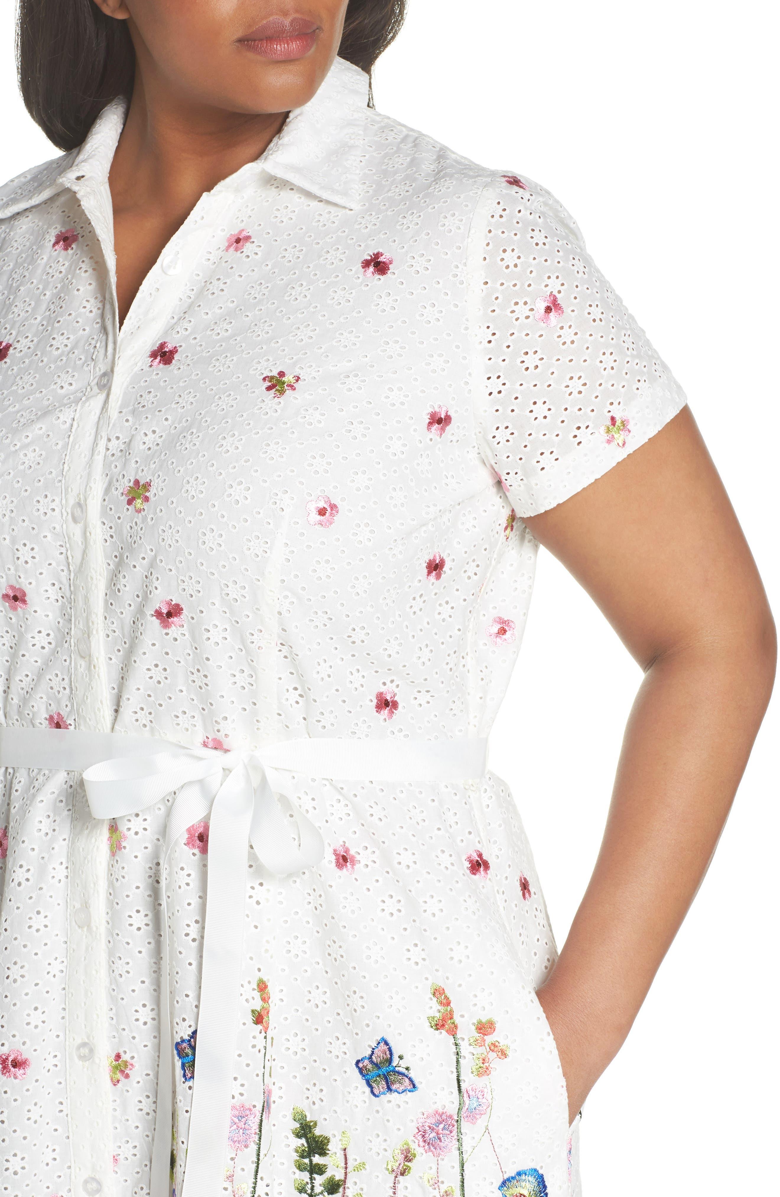 Floral Embroidered Eyelet Shirtdress,                             Alternate thumbnail 4, color,                             White/ Royal/ Green
