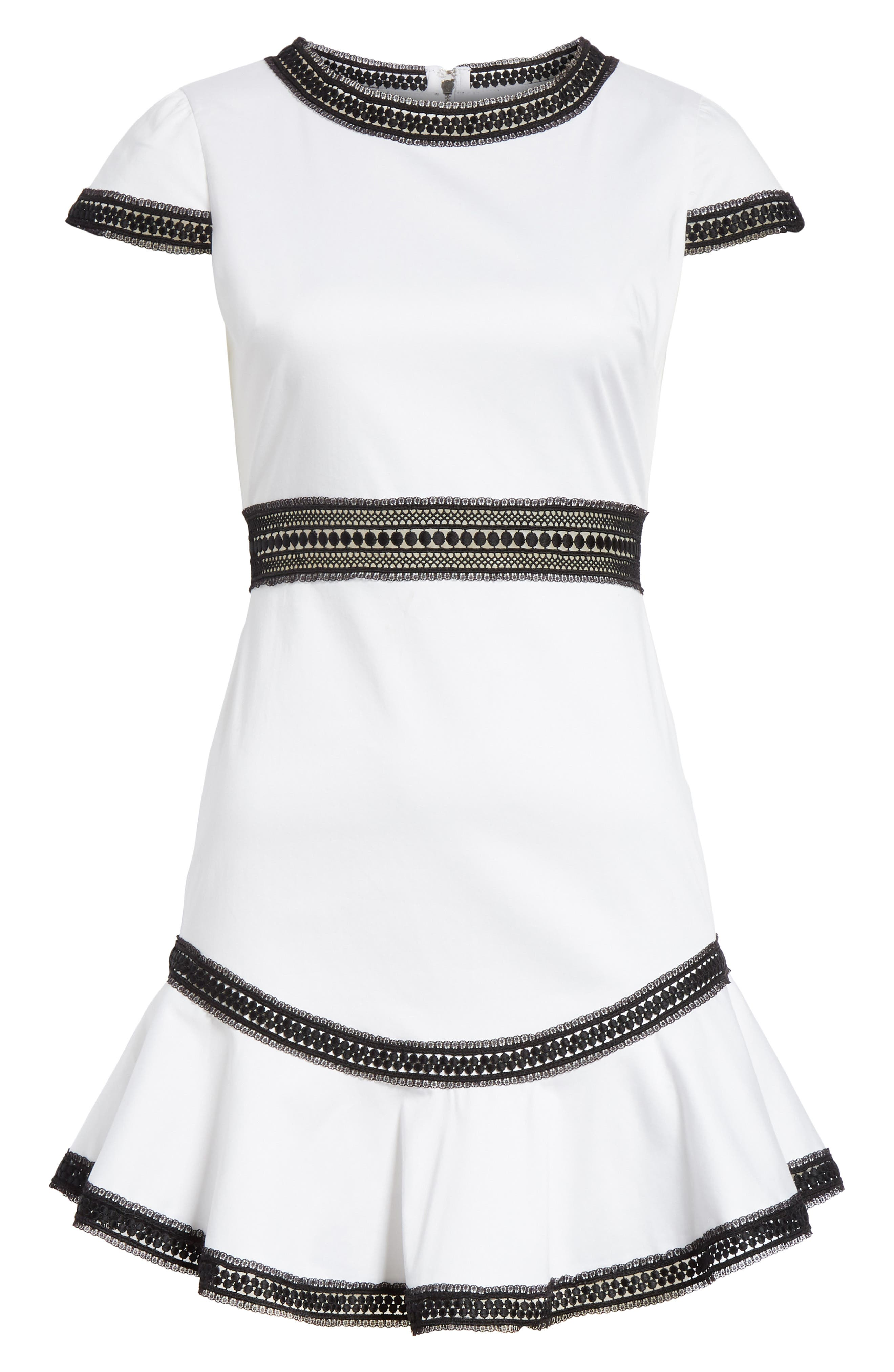 Rapunzel Stretch Cotton Fit & Flare Minidress,                             Alternate thumbnail 6, color,                             White/ Black