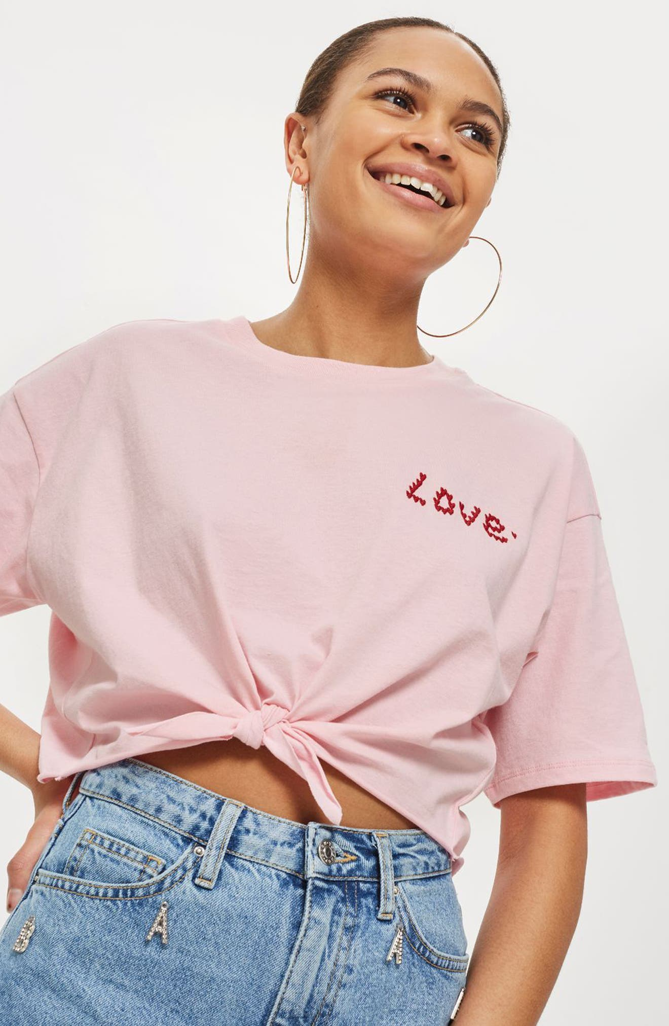 Knot Front Love T-Shirt,                             Alternate thumbnail 3, color,                             Pink