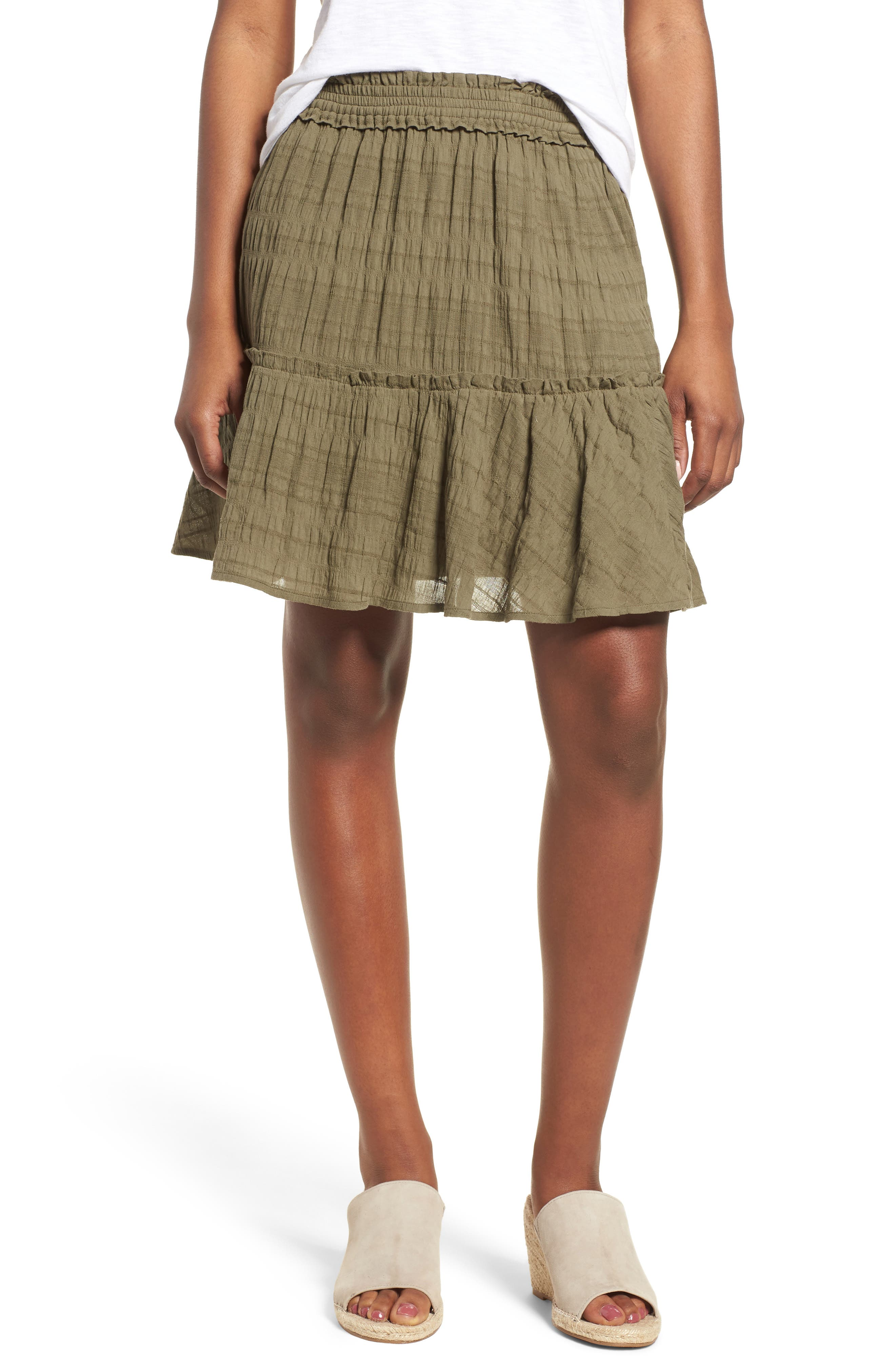 Smocked Stretch Cotton Mini Skirt,                         Main,                         color, Olive Kalamata