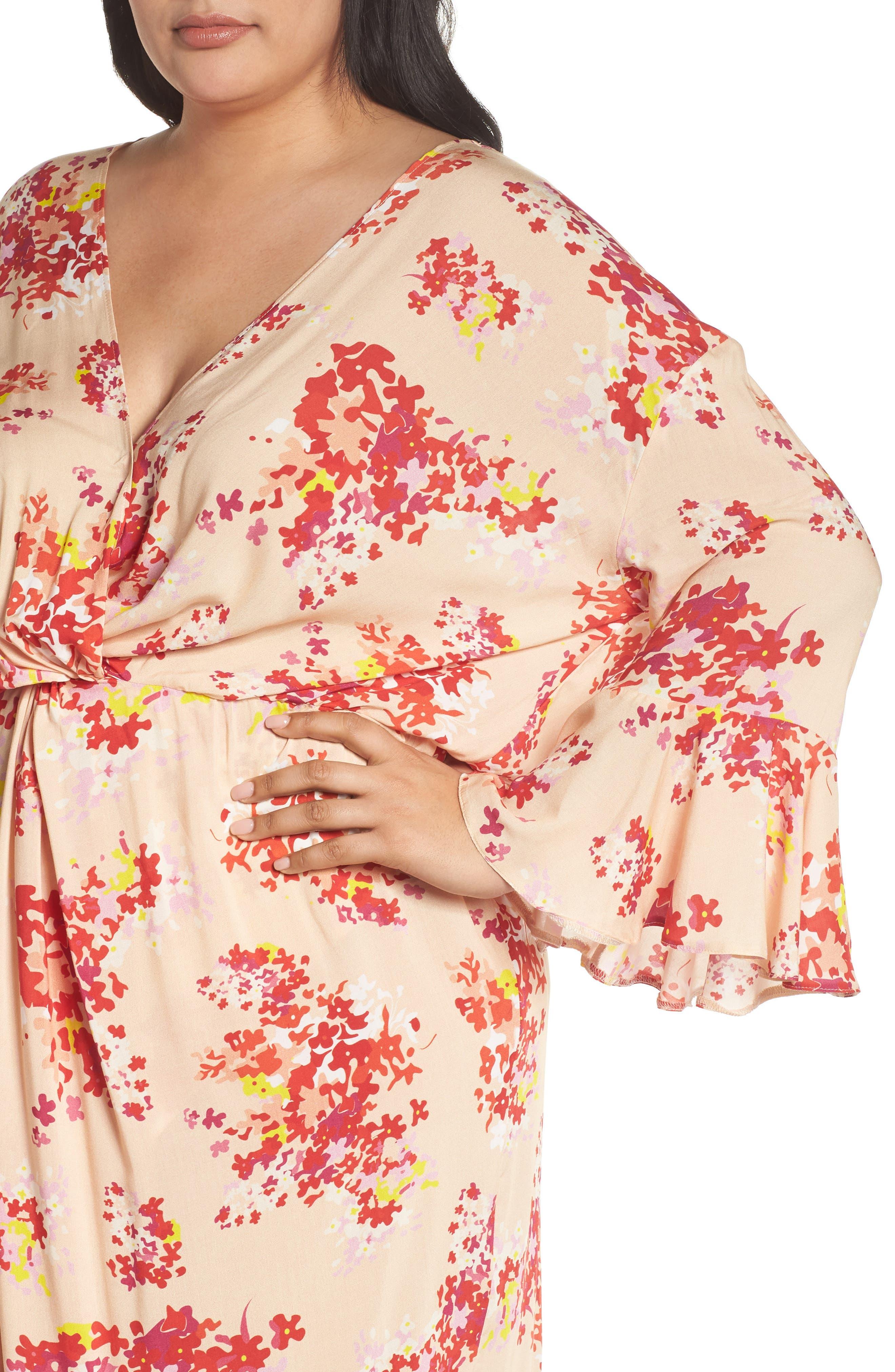 The Stasis Wrap Maxi Dress,                             Alternate thumbnail 4, color,                             Peach