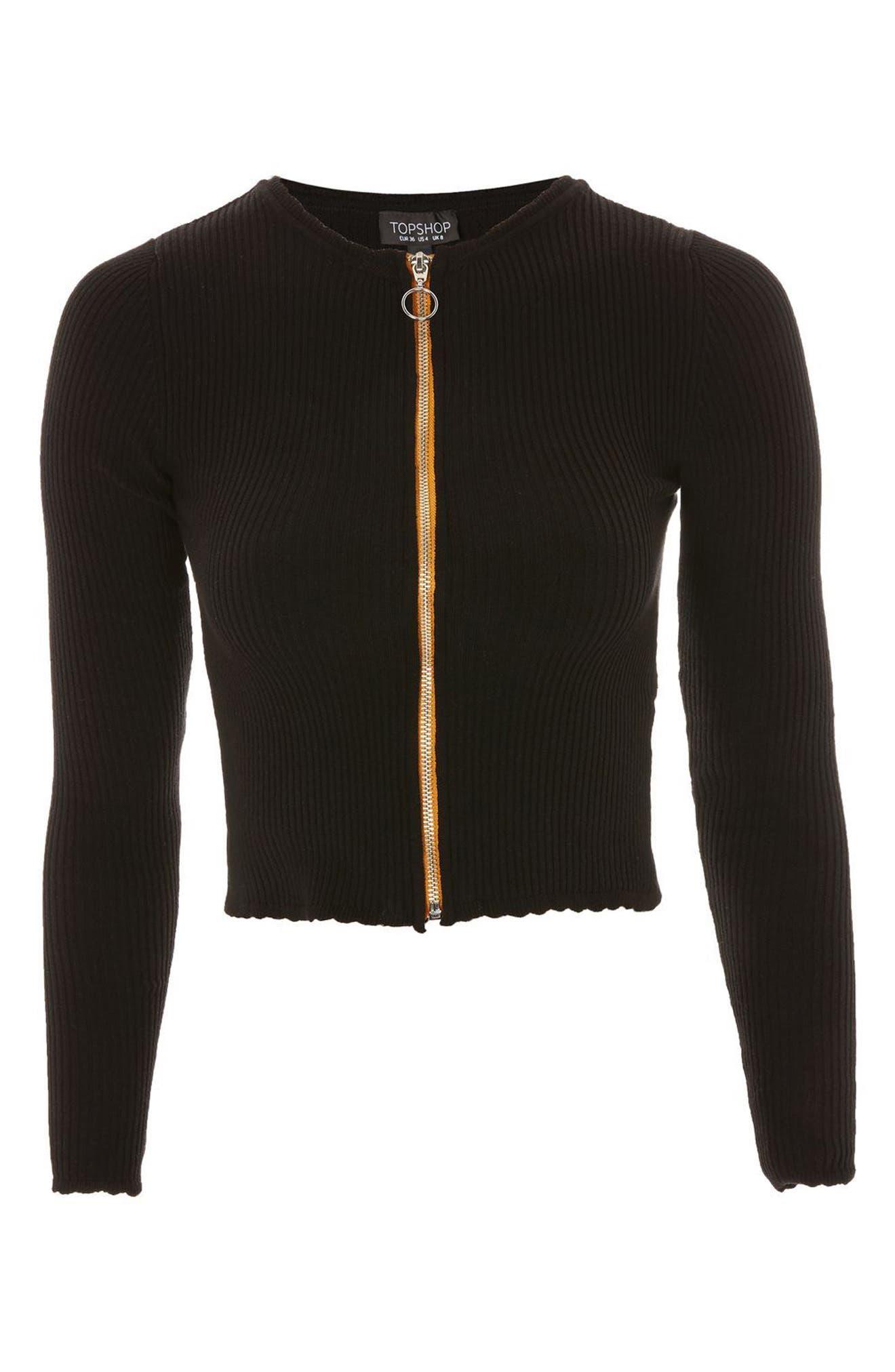 Ribbed Zip Through Cardigan,                         Main,                         color, Black