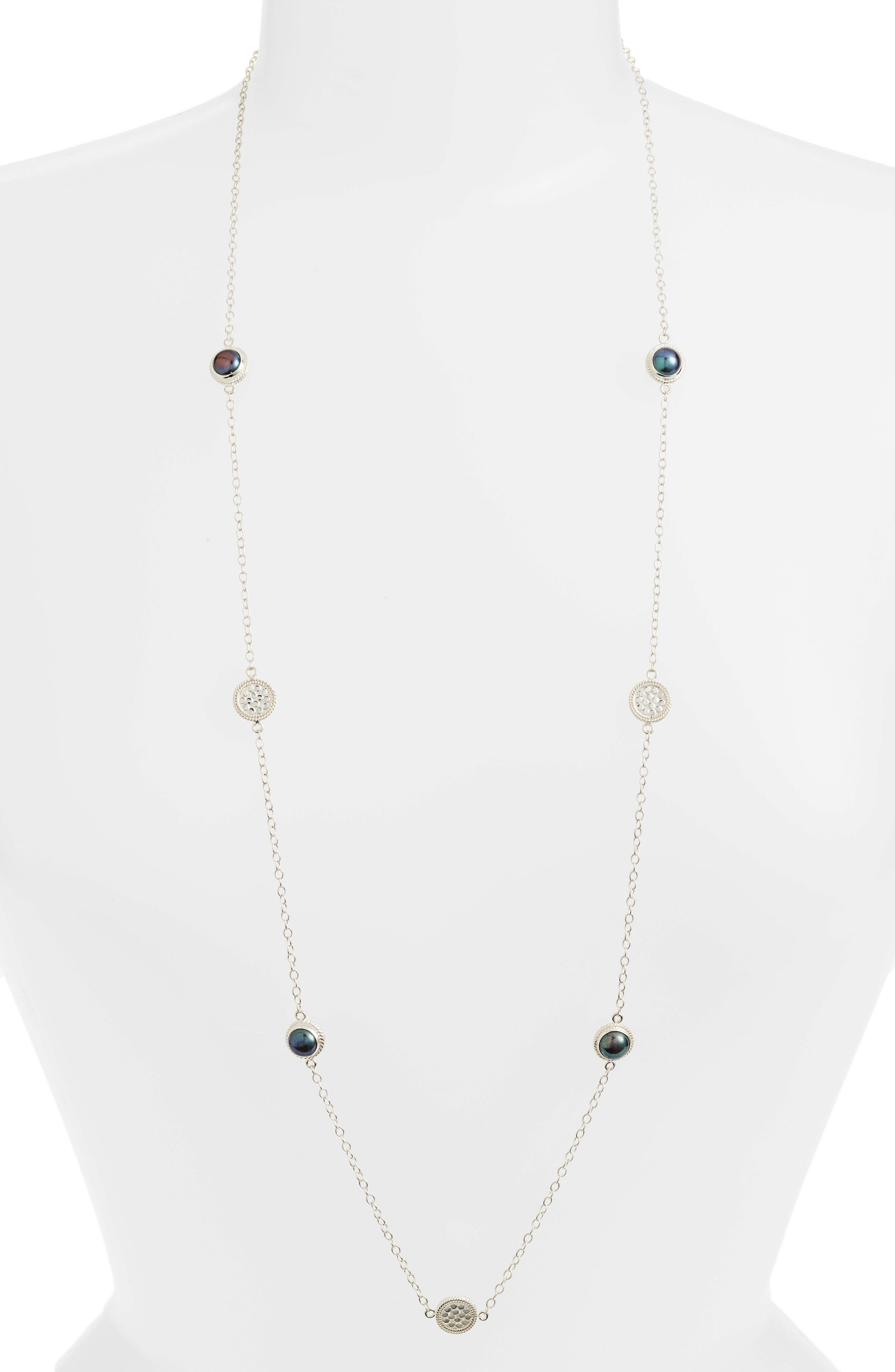 Genuine Blue Pearl Station Necklace,                             Main thumbnail 1, color,                             Silver/ Blue Pearl