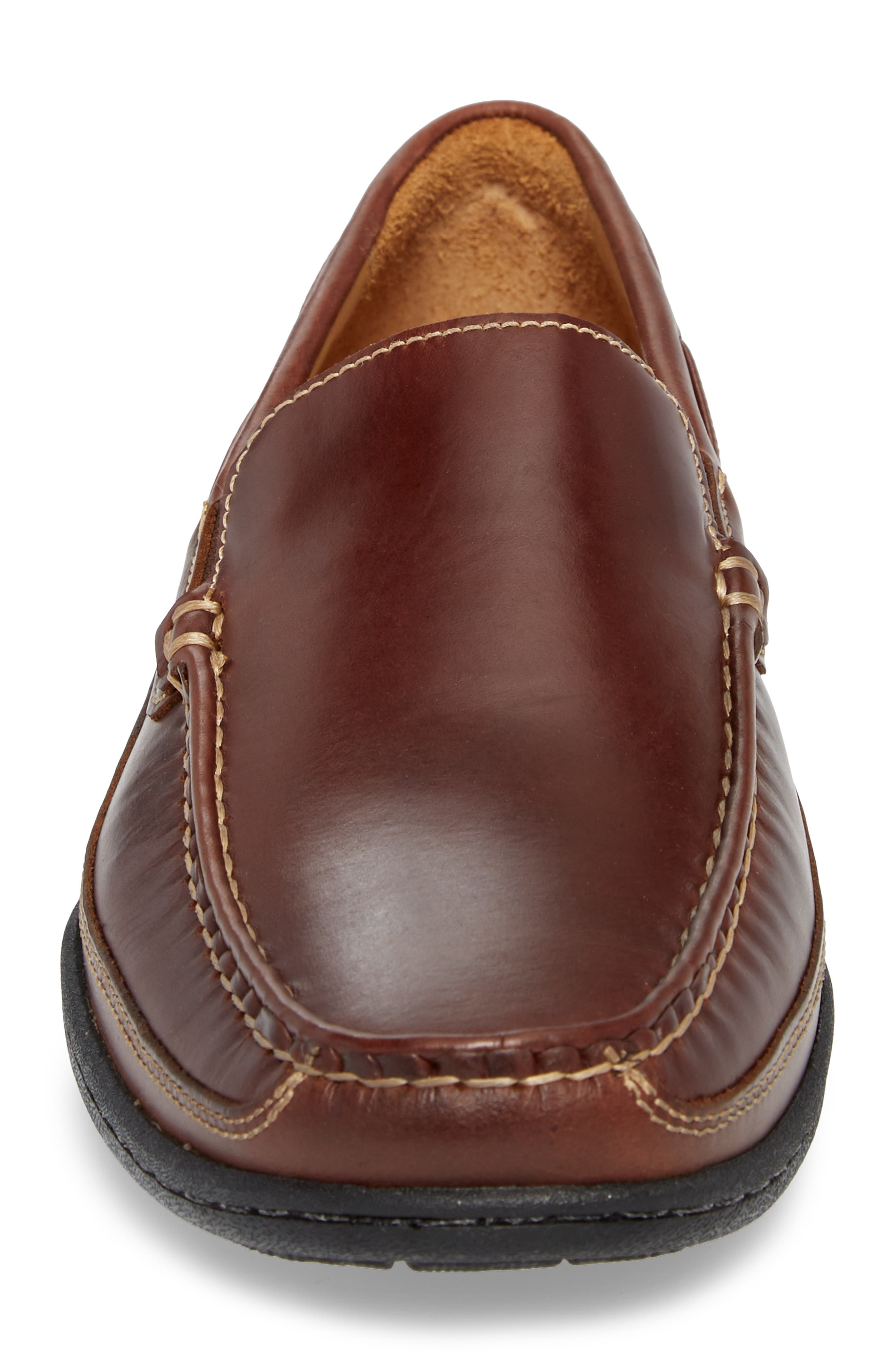 Fowler Moc Toe Loafer,                             Alternate thumbnail 4, color,                             Mahogany Leather