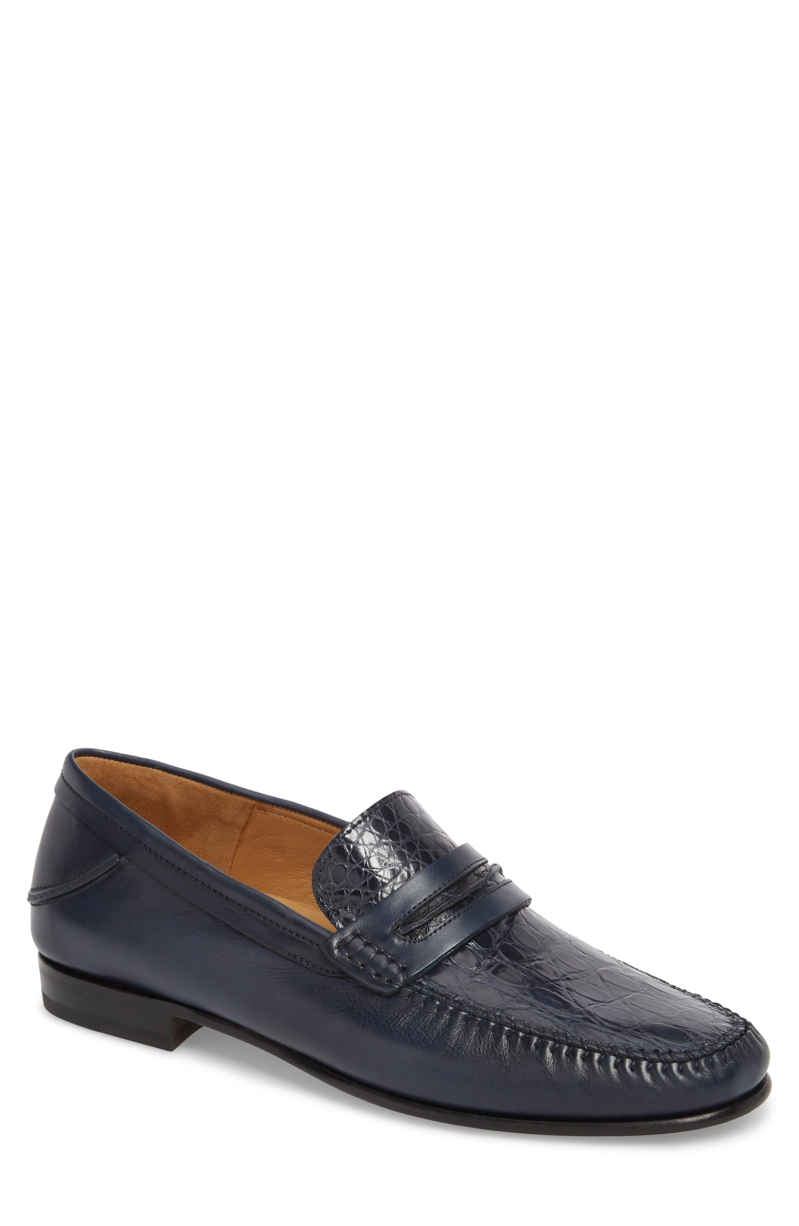 Kronos Moc Toe Penny Loafer,                         Main,                         color, Blue Leather