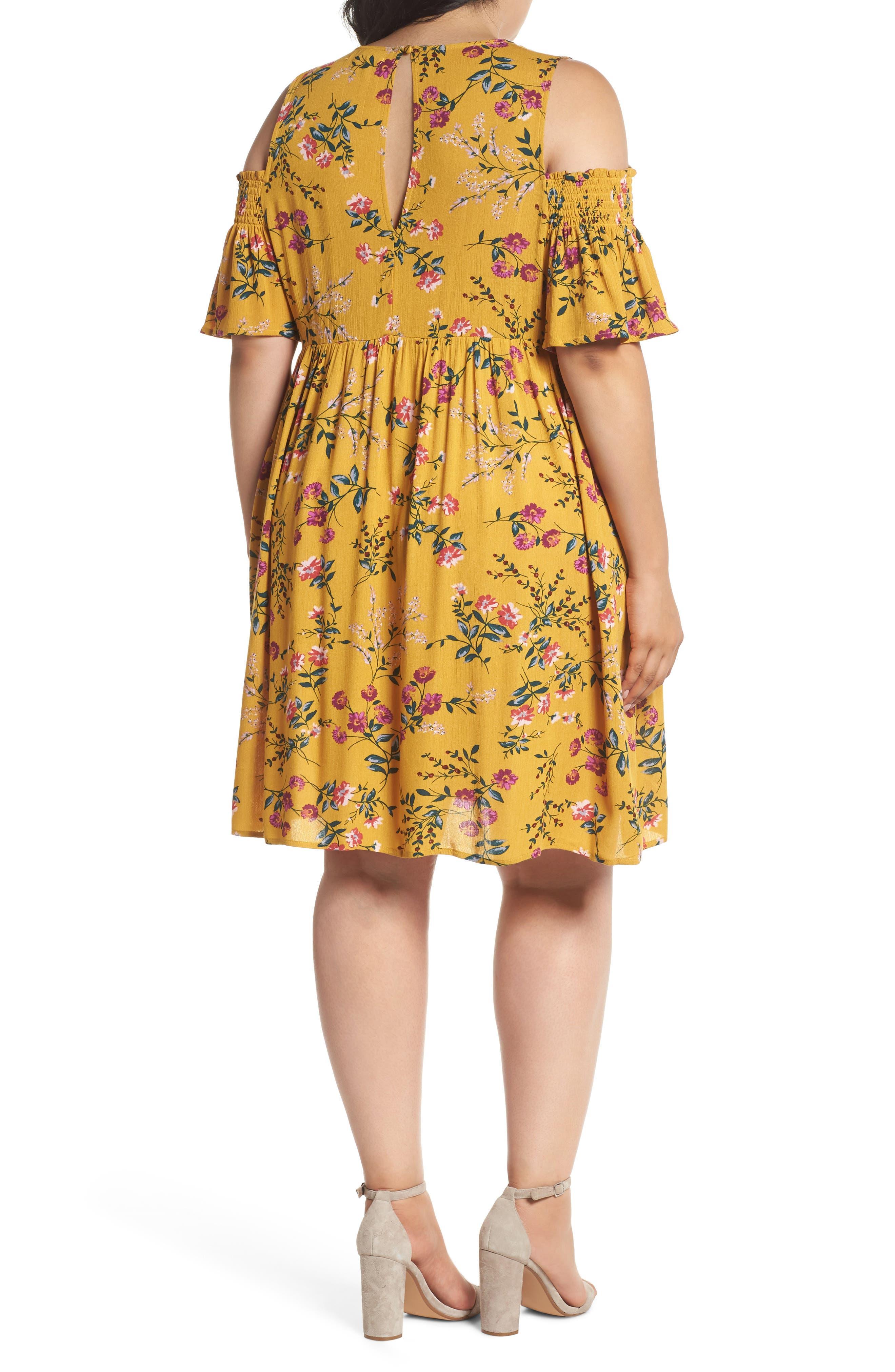 Floral Smocked Cold Shoulder Dress,                             Alternate thumbnail 2, color,                             Mustard Multi Floral