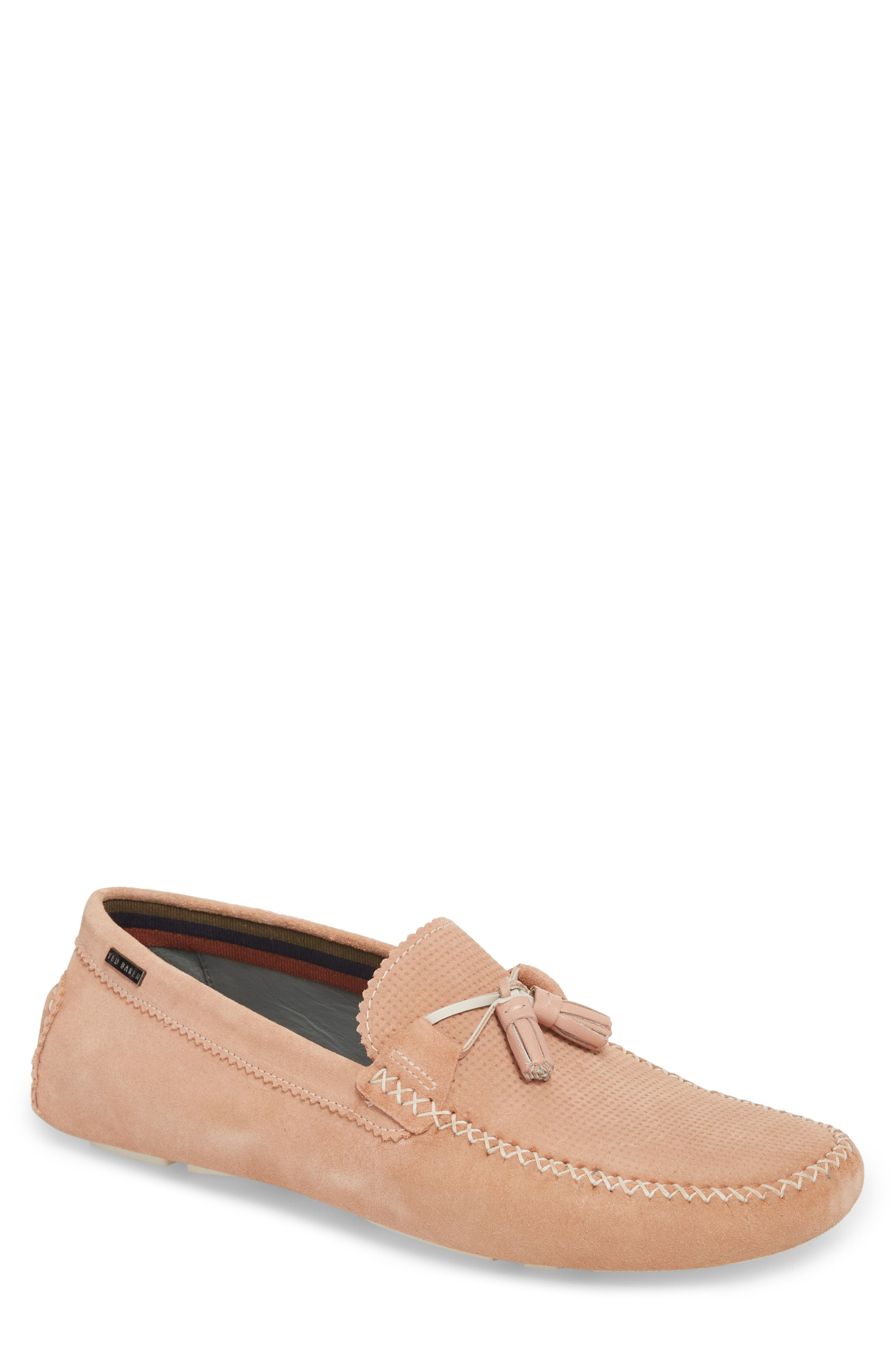 Erbonn Tasseled Driving Moccasin,                             Main thumbnail 1, color,                             Light Pink Suede