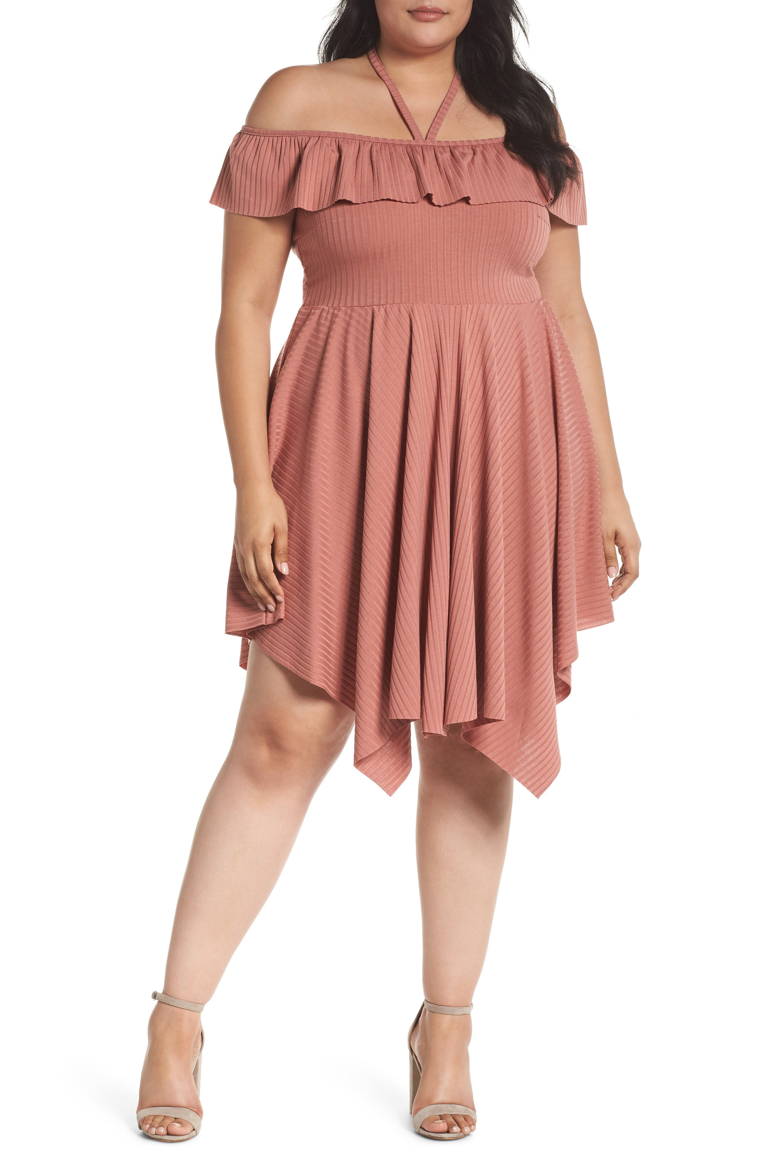 Asymmetrical Ribbed Off the Shoulder Dress,                         Main,                         color, Blush
