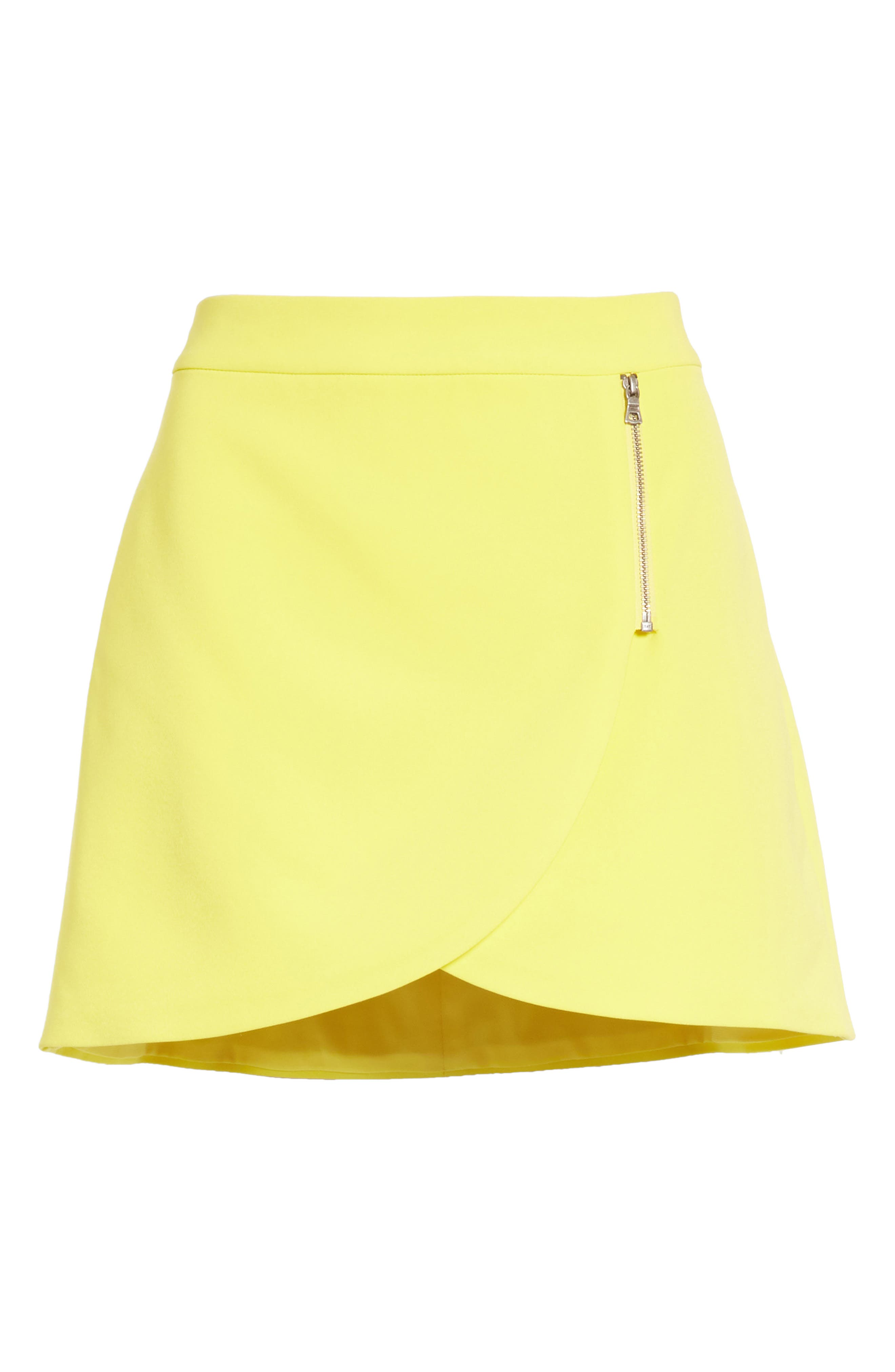 Lennon Side Zip Miniskirt,                             Alternate thumbnail 6, color,                             Lemon