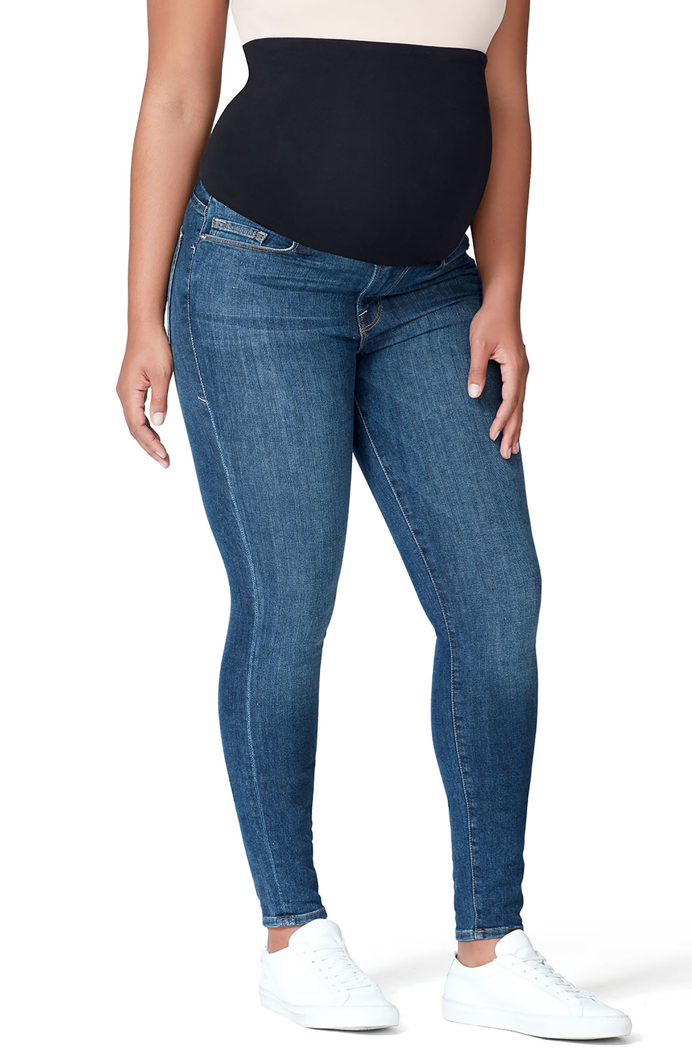 Good Mama The Home Stretch Maternity Skinny Jeans,                             Alternate thumbnail 2, color,                             Blue