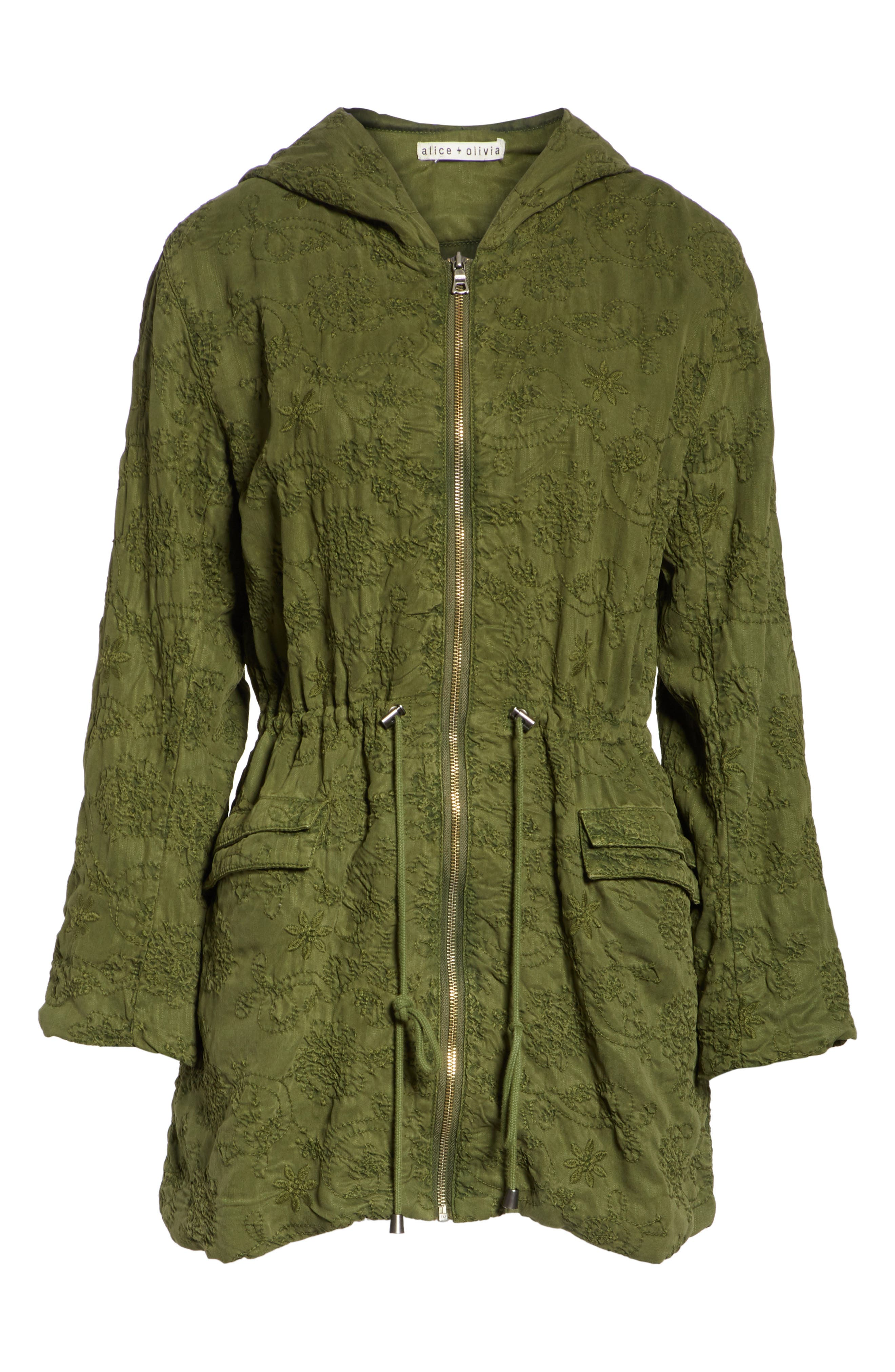 Marna Embroidered Hooded Parka,                             Alternate thumbnail 7, color,                             Olive