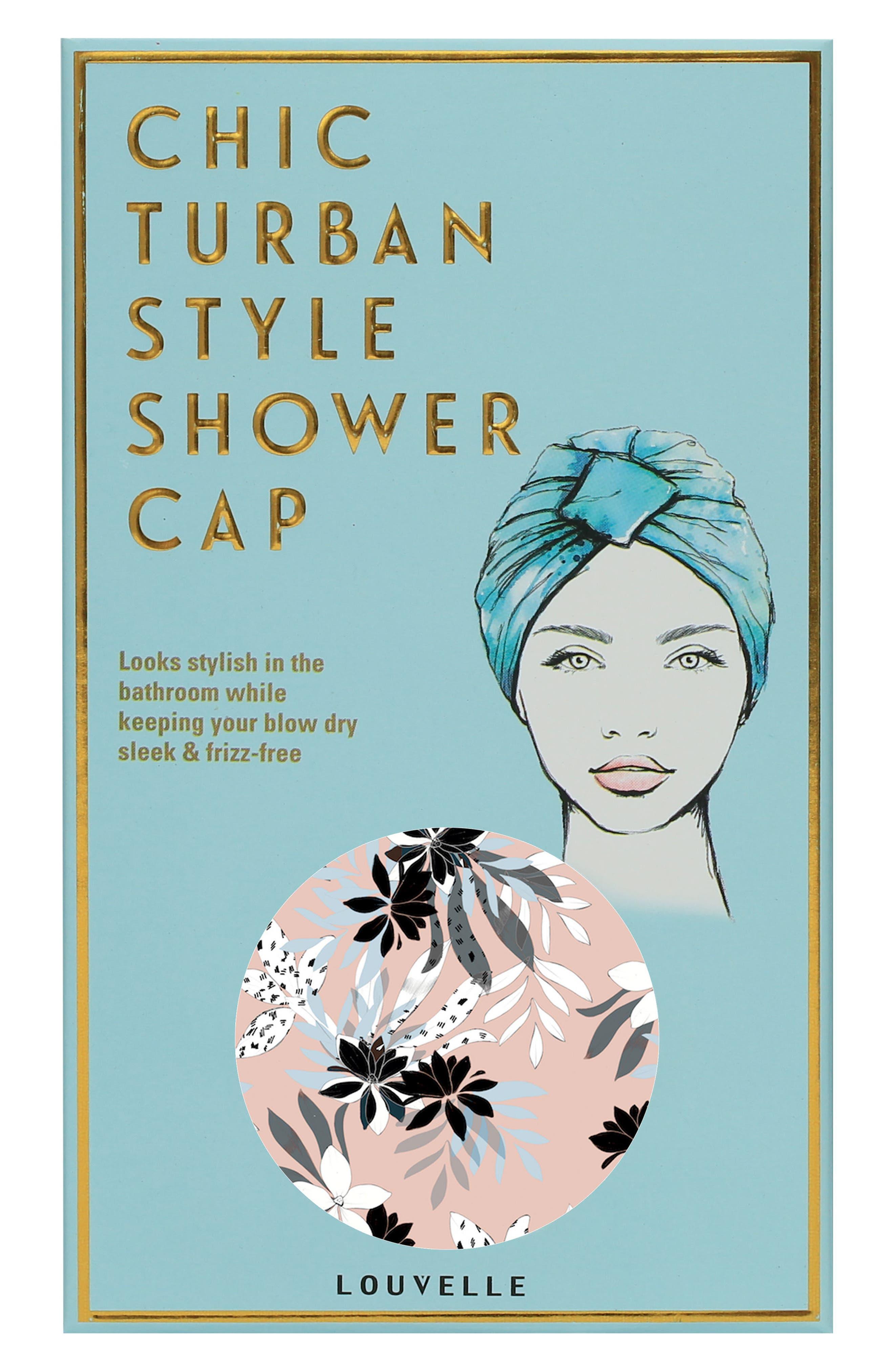 Amelie Turban Shower Cap,                             Alternate thumbnail 3, color,                             Soft Pink Floral