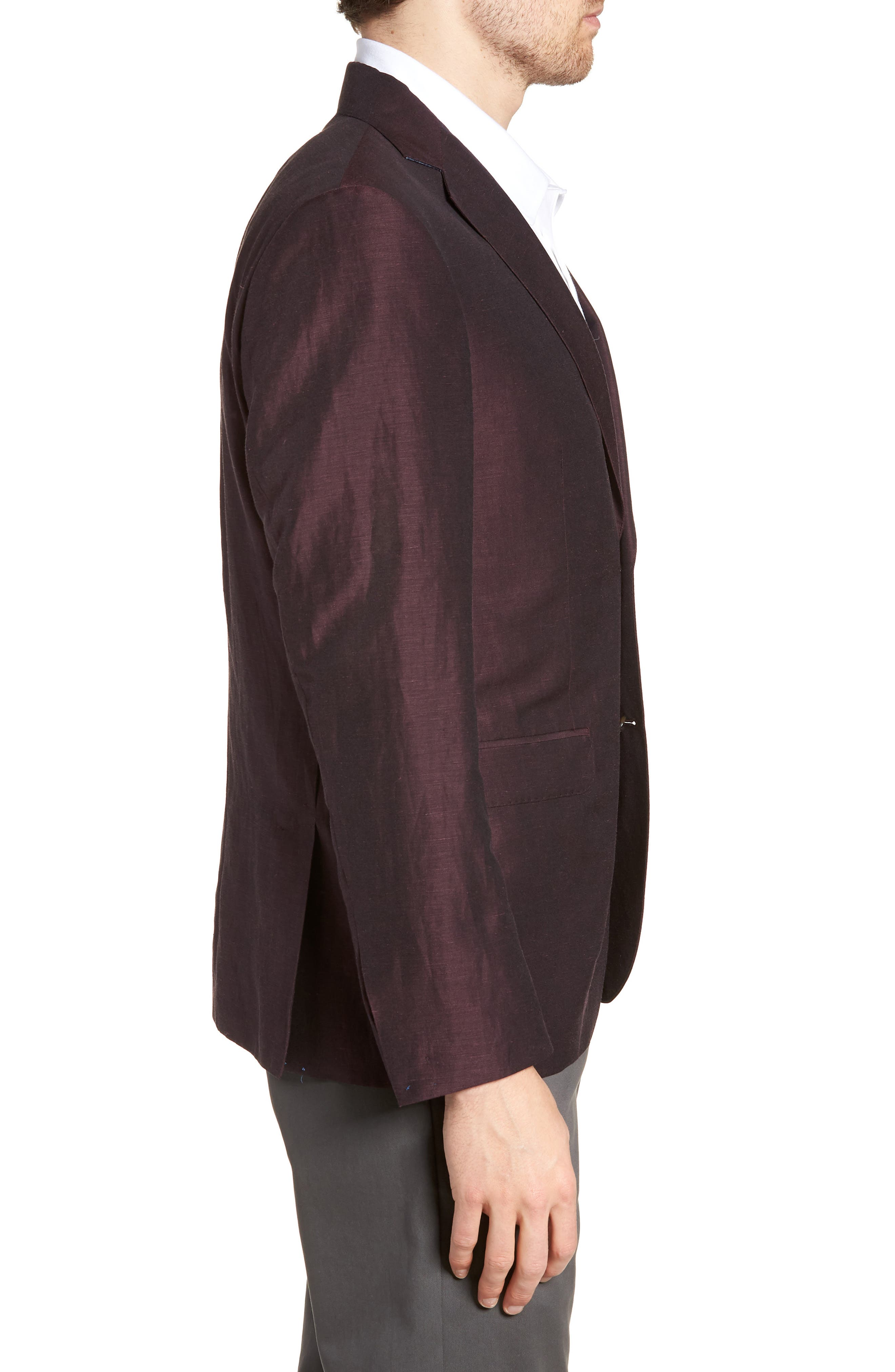 Shelby Trim Fit Wool & Linen Suit Jacket,                             Alternate thumbnail 3, color,                             Plum