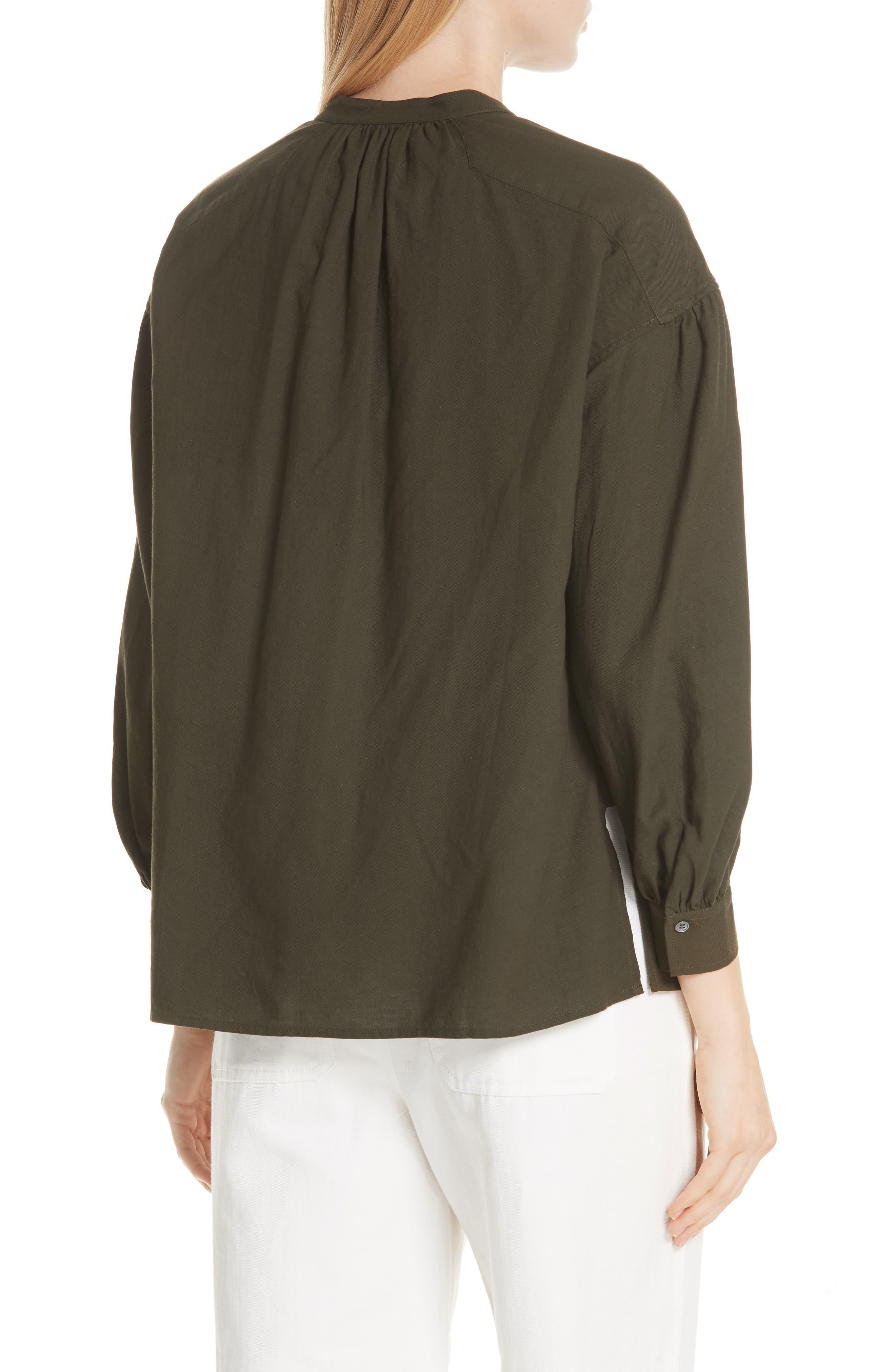 Shirred Cotton Blouse,                             Alternate thumbnail 2, color,                             Pinon Green