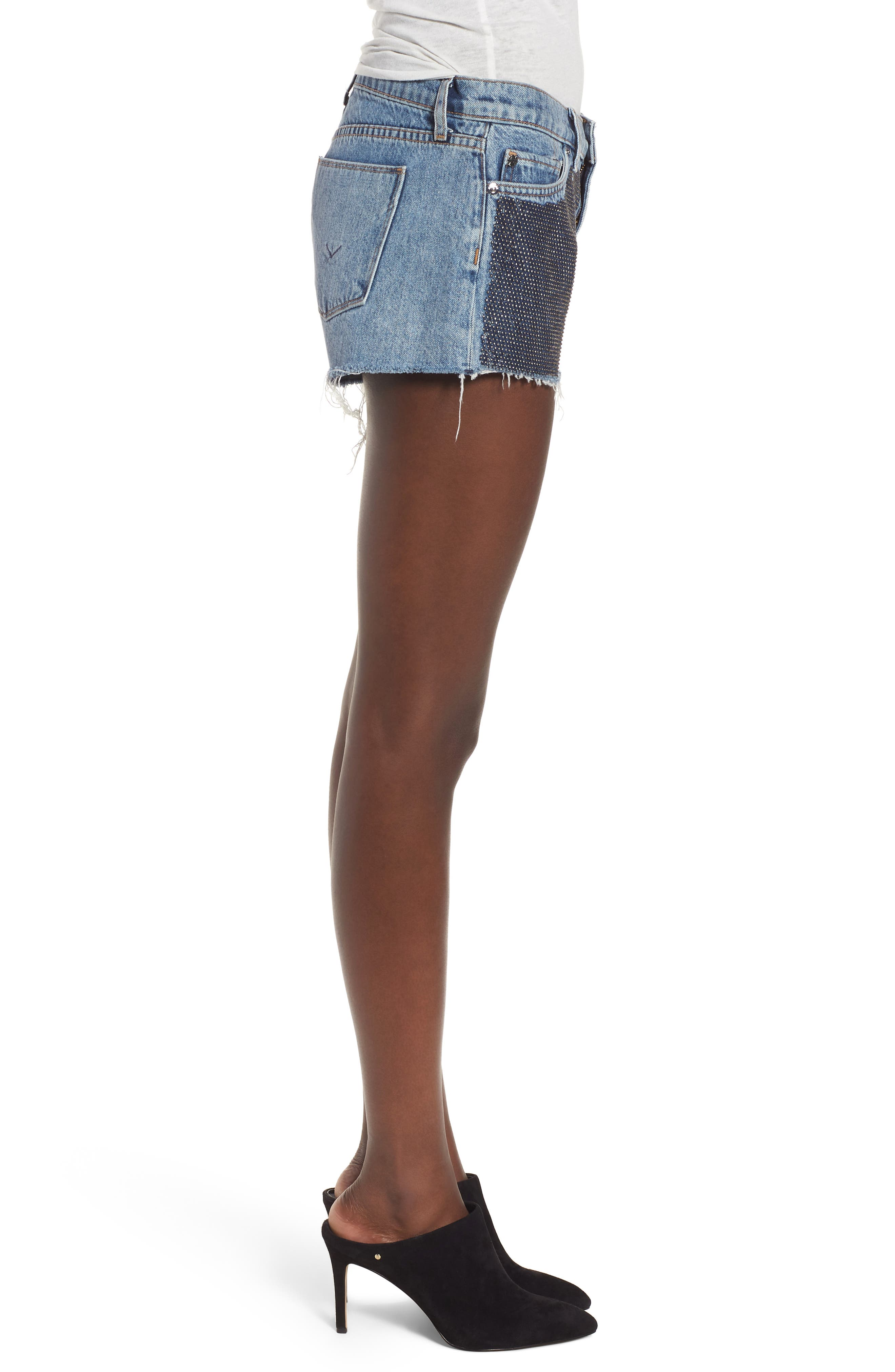 Kenzie Studded Cutoff Denim Shorts,                             Alternate thumbnail 3, color,                             Metal Mark