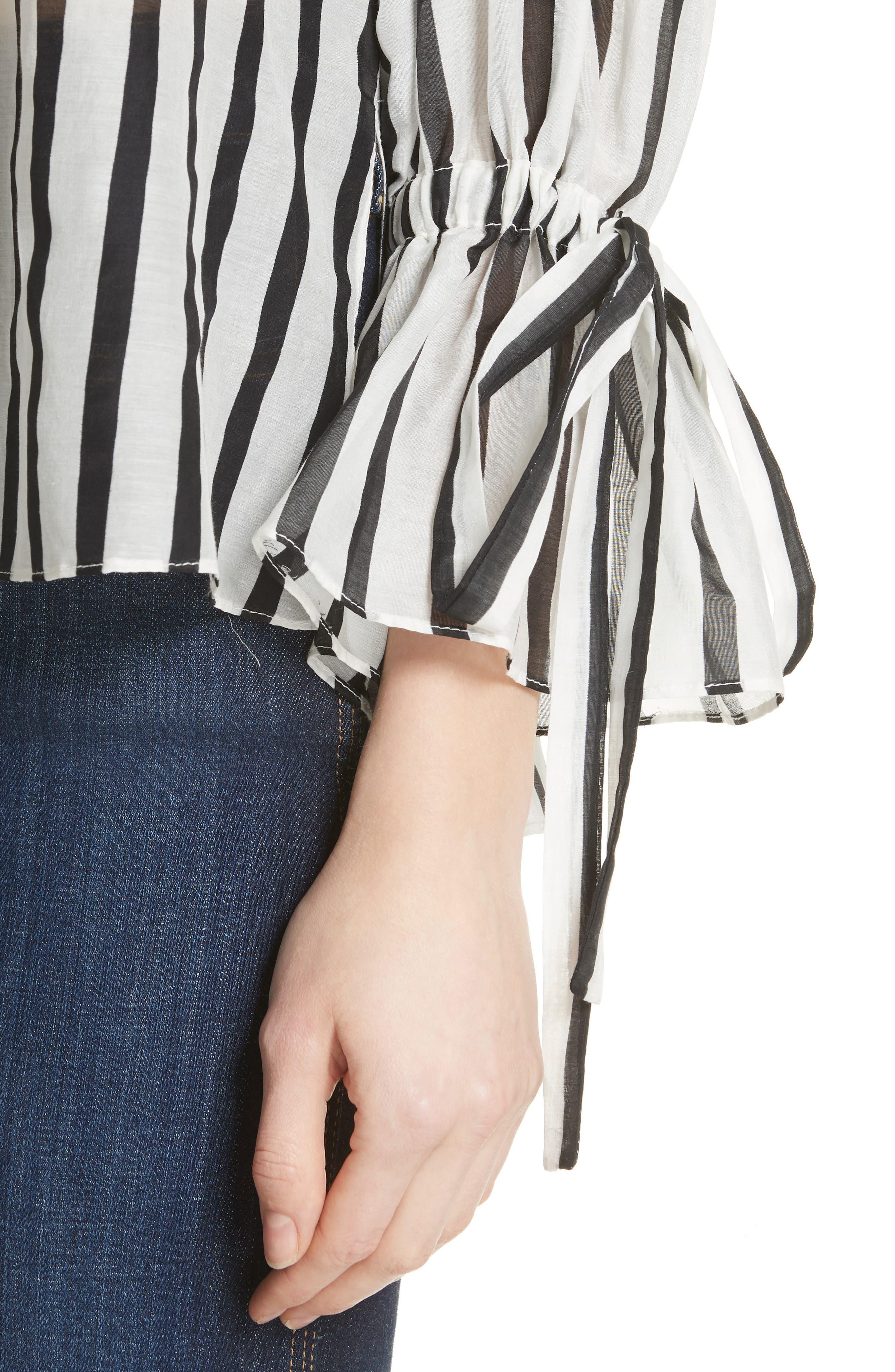 Geraldine Bow Sleeve Stripe Cotton Silk Tunic Top,                             Alternate thumbnail 4, color,                             Monochrome Stripe