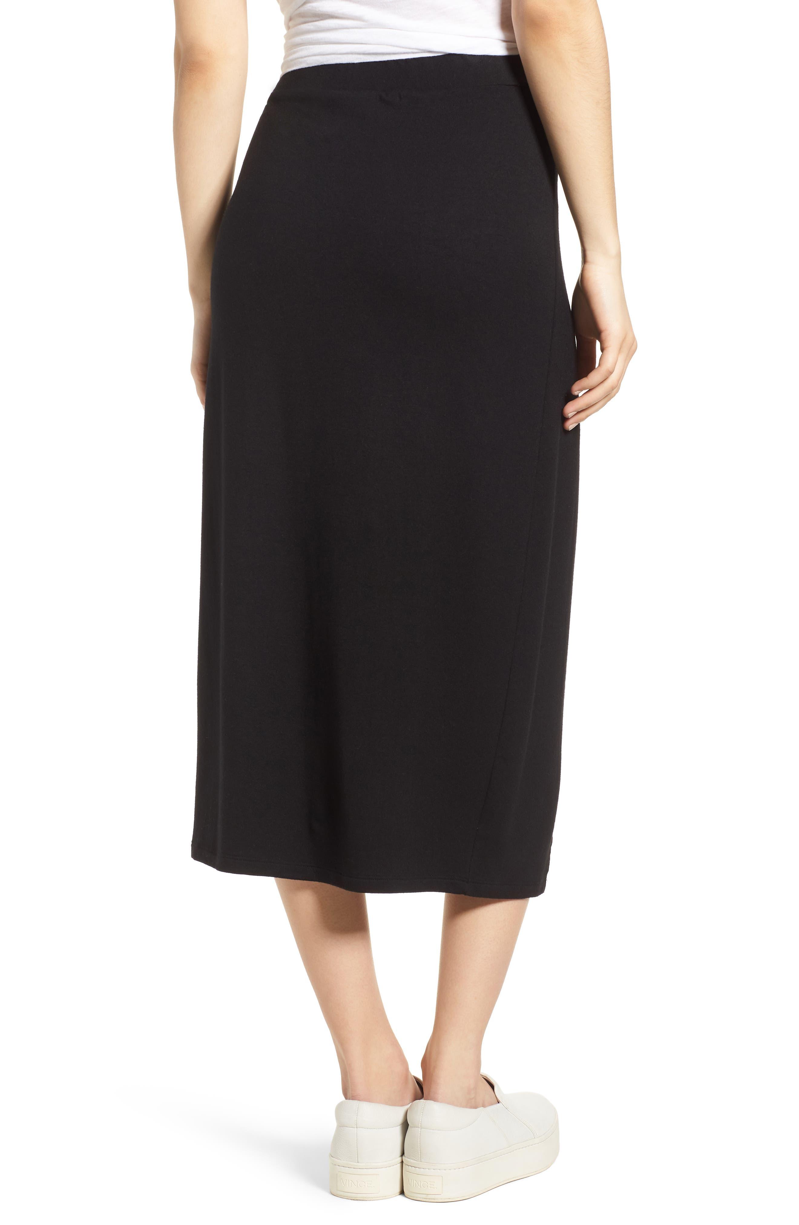 Faux Wrap Skirt,                             Alternate thumbnail 2, color,                             Black