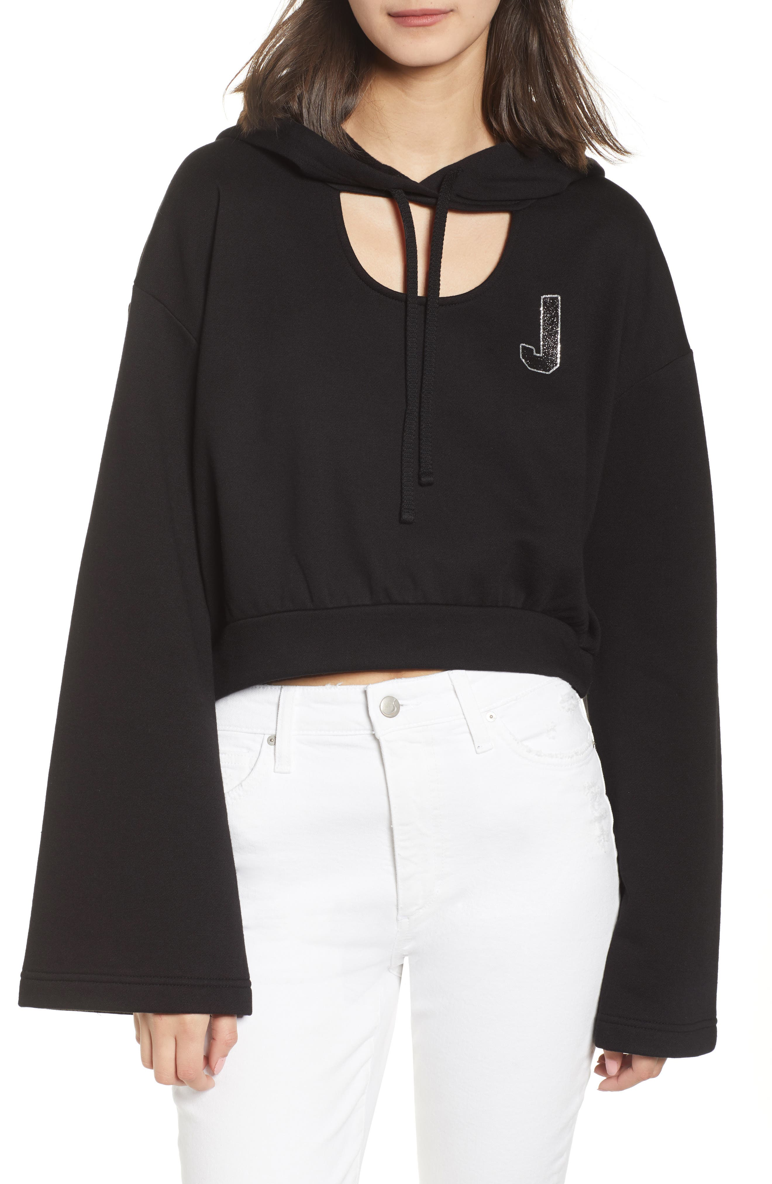 Glitter Embellished Logo Hoodie,                             Main thumbnail 1, color,                             Pitch Black