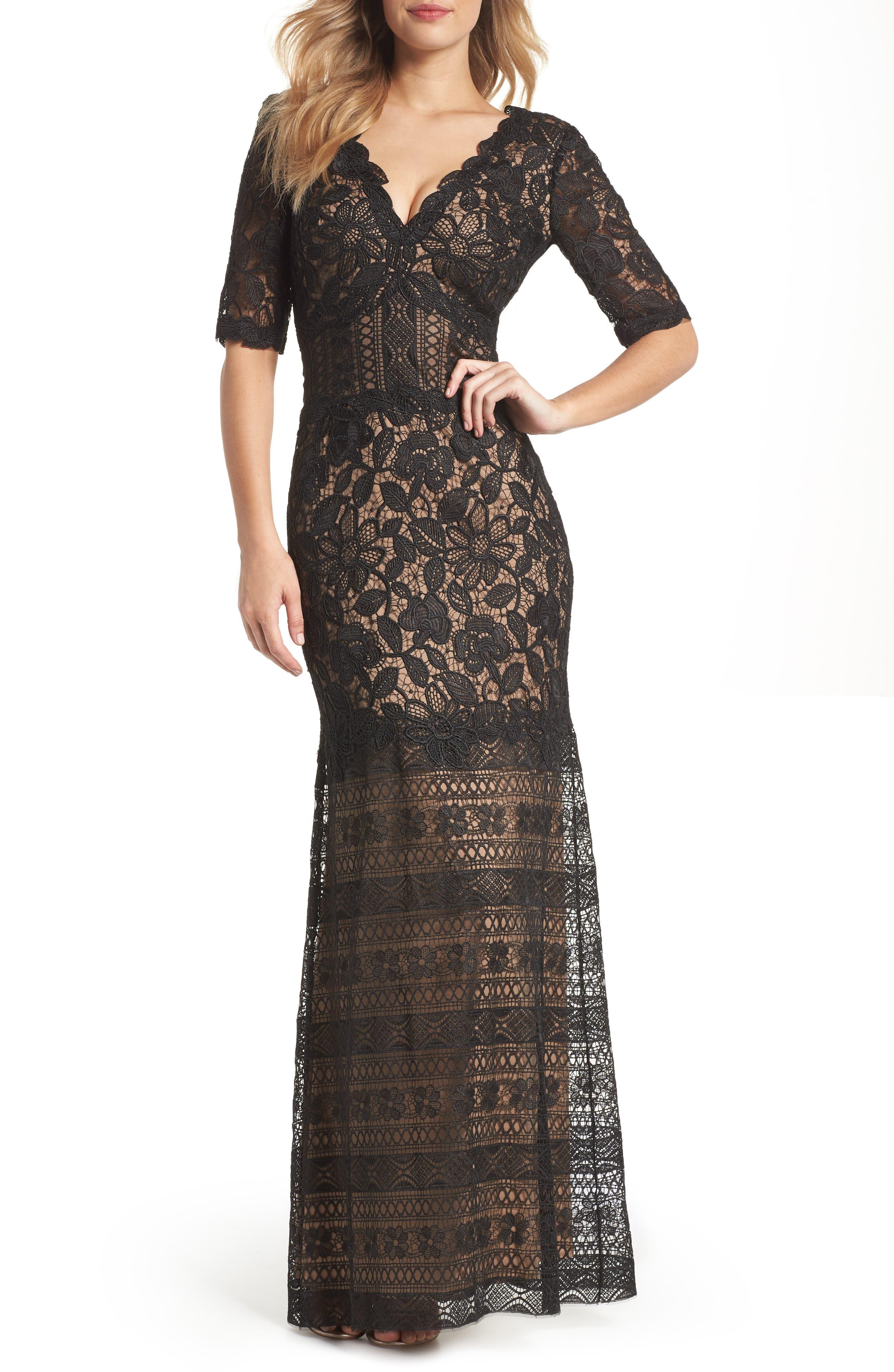 Lace Trumpet Gown,                         Main,                         color, Black/ Nude