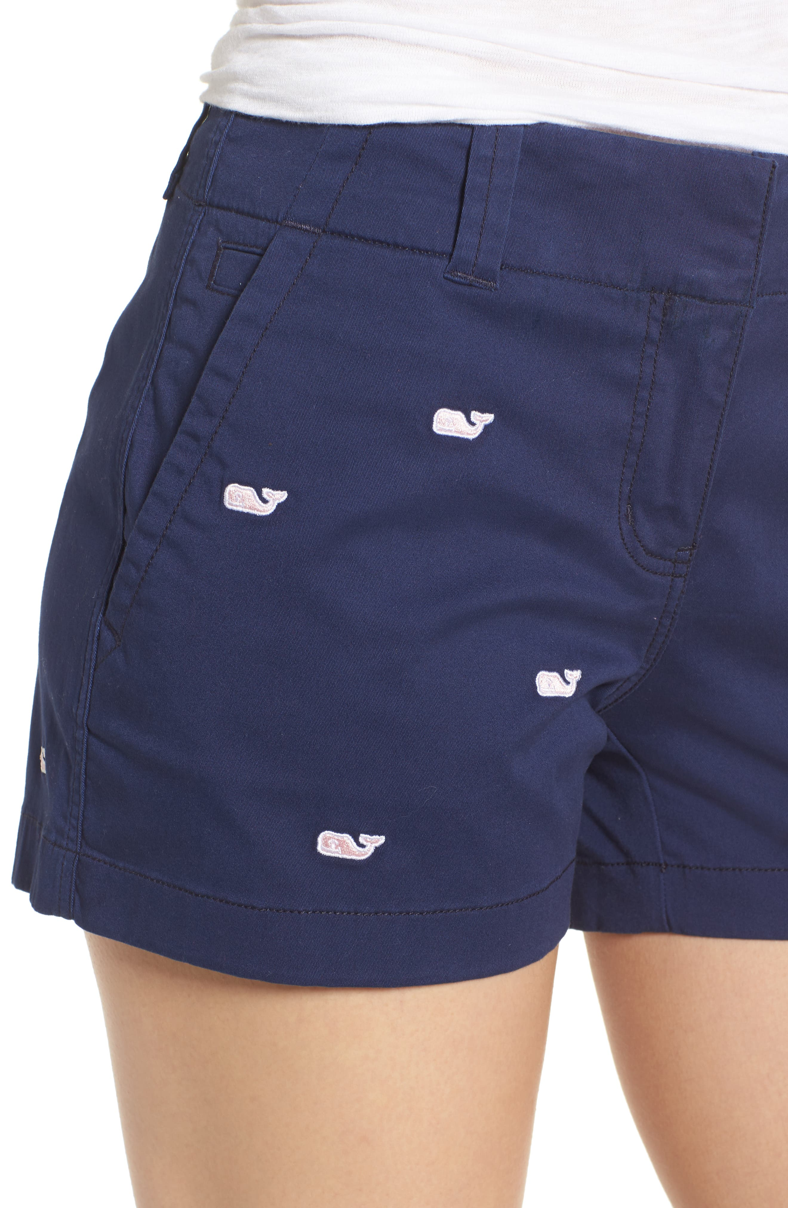 Whale Embroidered Chino Shorts,                             Alternate thumbnail 4, color,                             Deep Bay