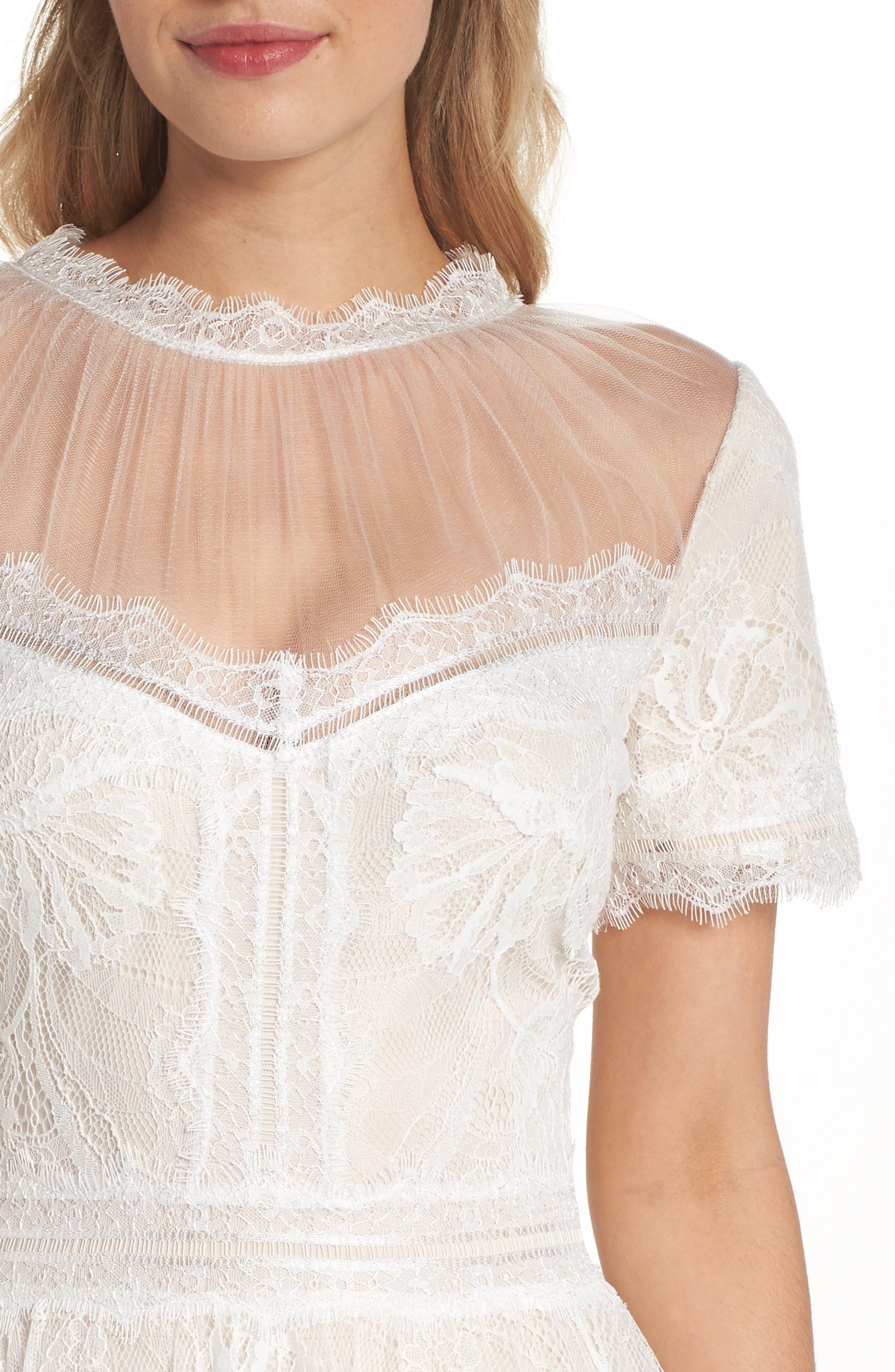 Lace Tea-Length Dress,                             Alternate thumbnail 4, color,                             Ivory/ Petal
