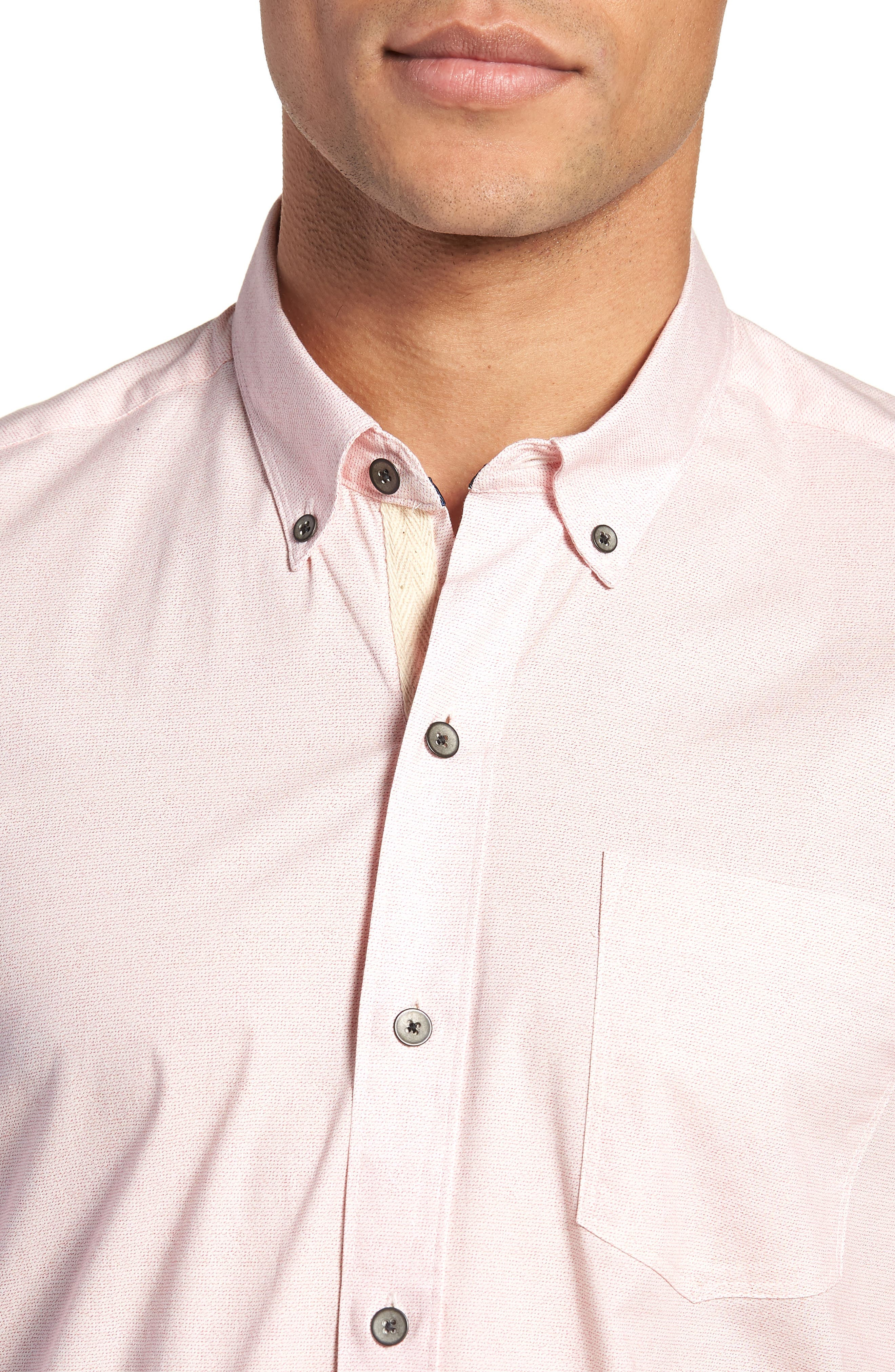 Reworked Slim Fit Speckled Sport Shirt,                             Alternate thumbnail 4, color,                             Pink