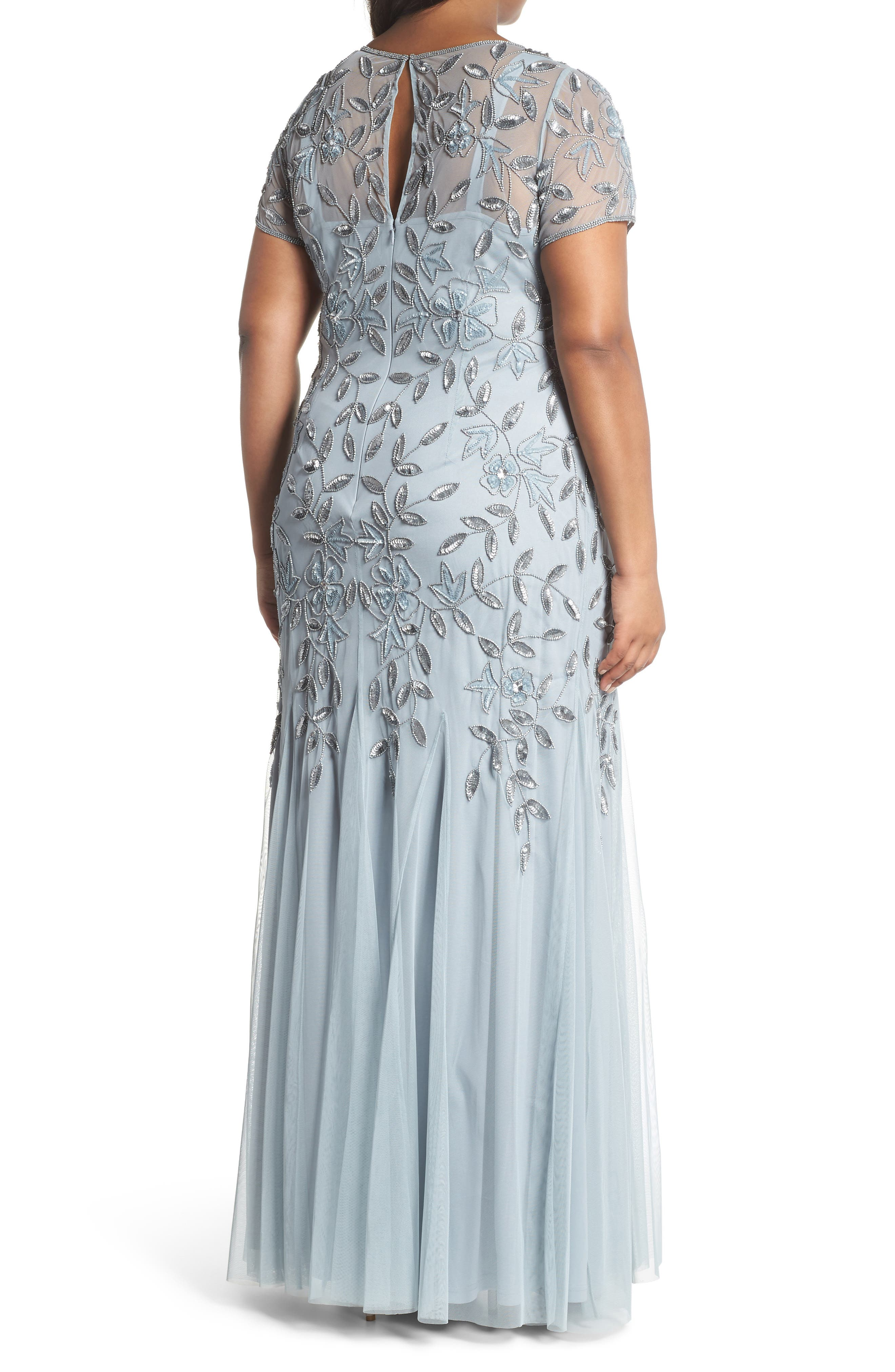 Floral Beaded Godet Gown,                             Alternate thumbnail 2, color,                             Blue Heather