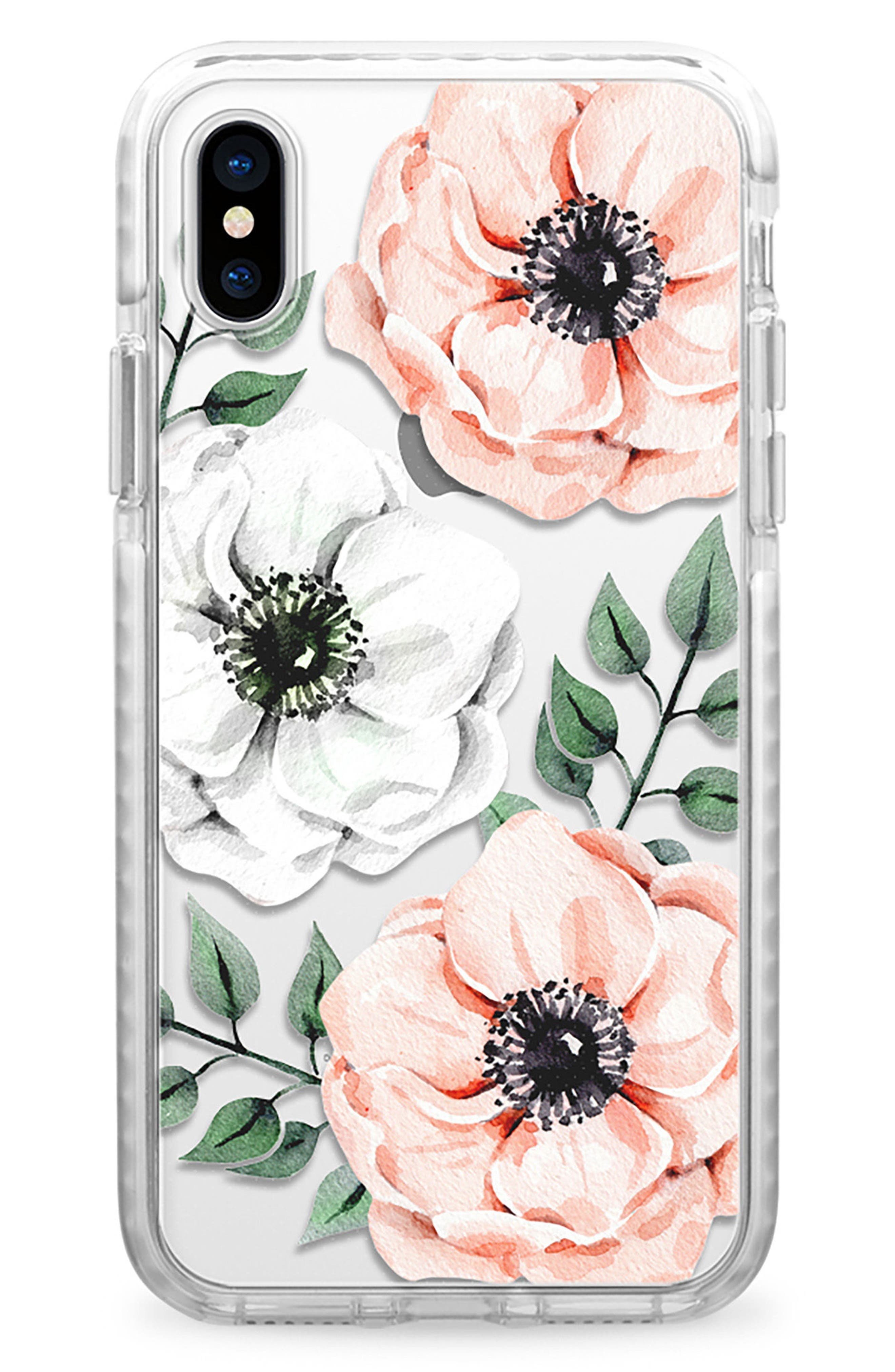 Watercolor Impact iPhone X Case,                             Main thumbnail 1, color,                             Pink And White