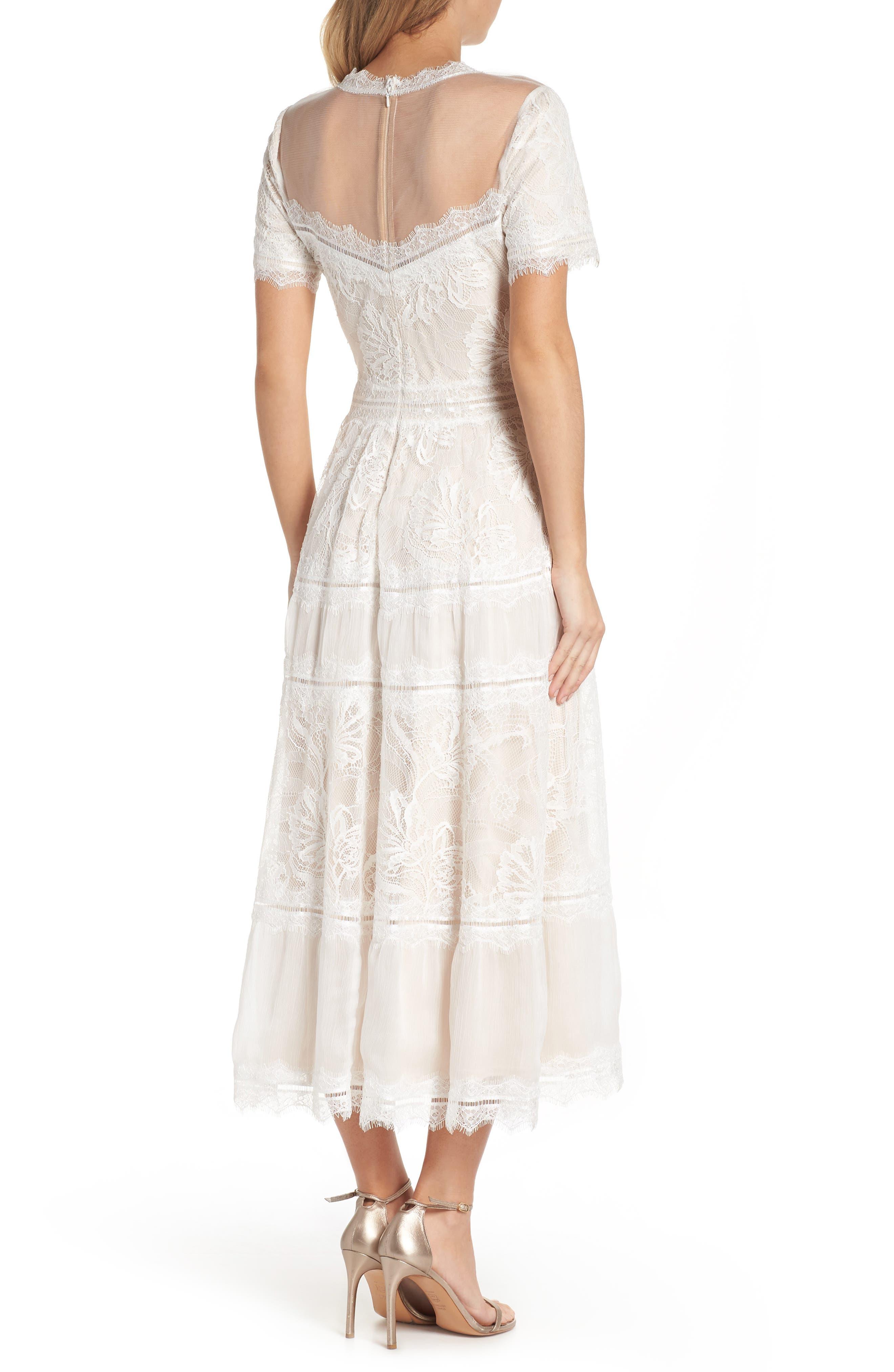 Lace Tea-Length Dress,                             Alternate thumbnail 2, color,                             Ivory/ Petal