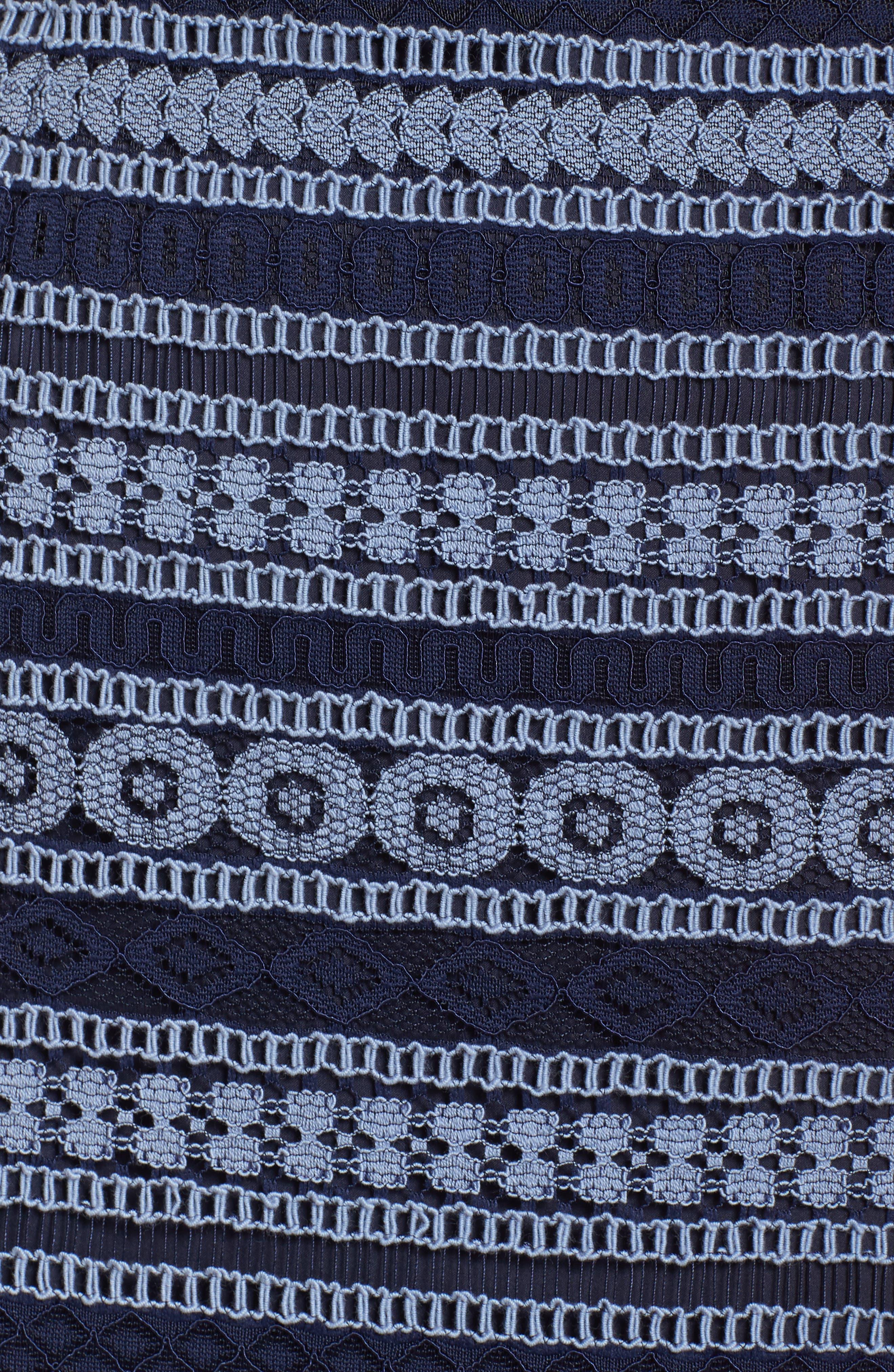Stripe Racerback Lace Dress,                             Alternate thumbnail 6, color,                             Navy/ Blue