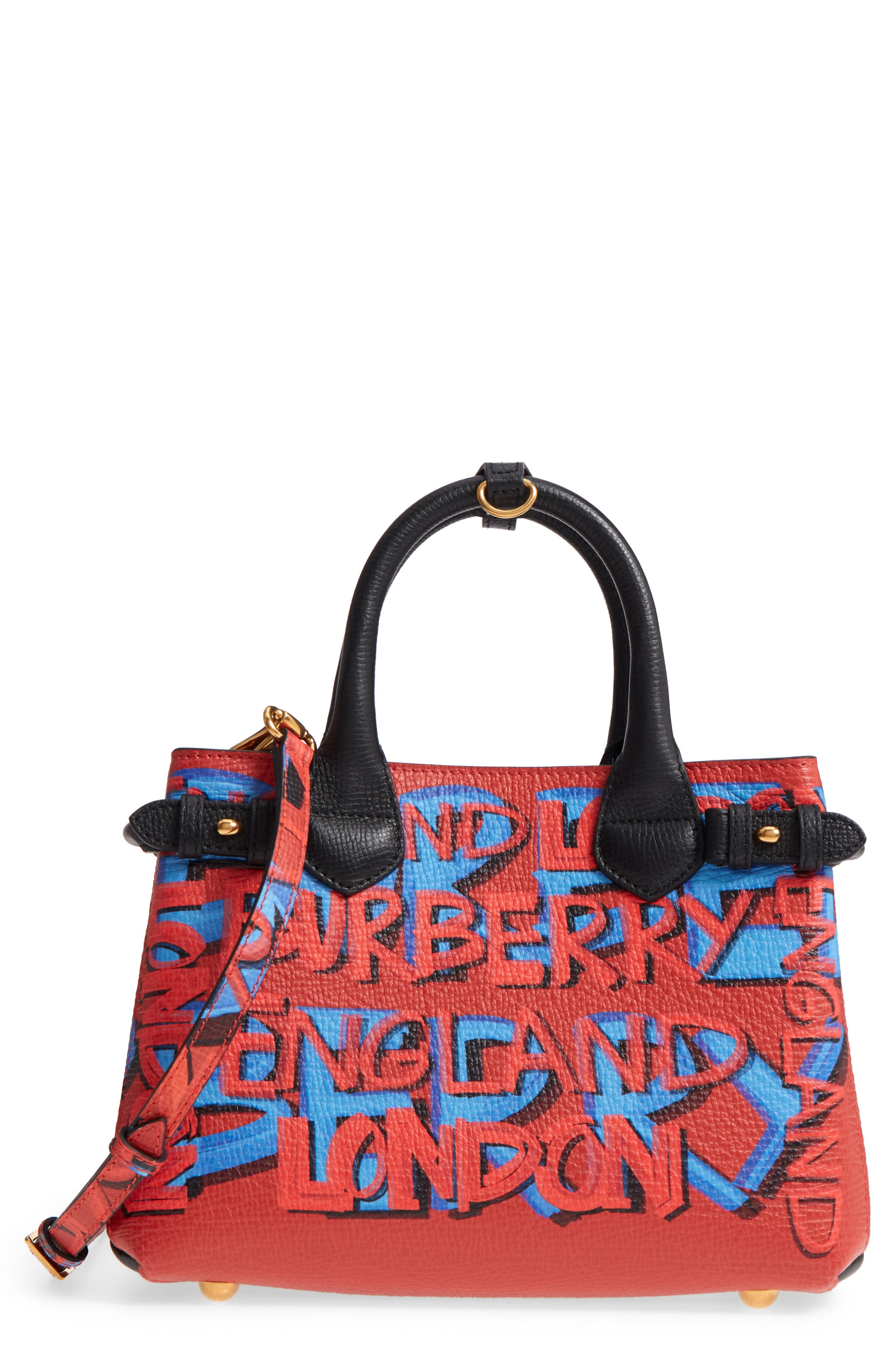 Small Banner Graffiti Leather Tote,                             Main thumbnail 1, color,                             Black