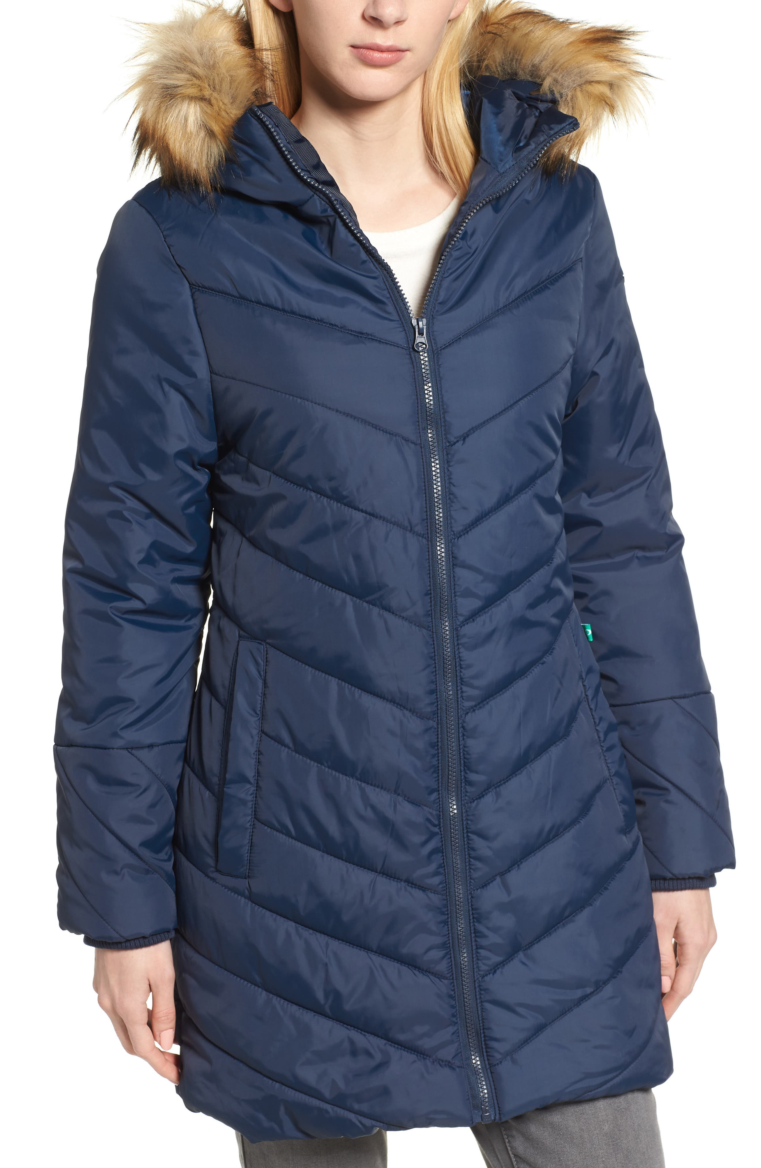 Faux Fur Trim Convertible Puffer 3-in-1 Maternity Jacket,                             Alternate thumbnail 2, color,                             Navy