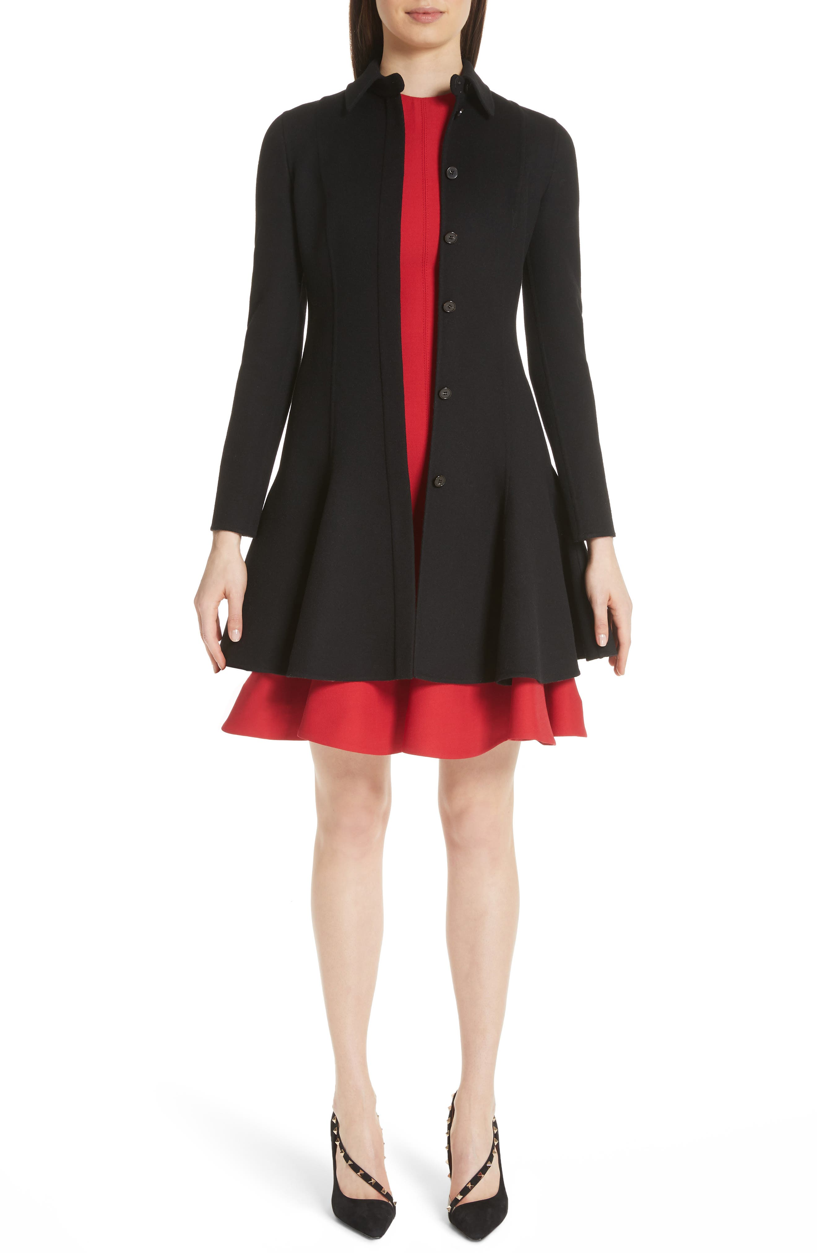 Compact Double Face Wool Peplum Coat,                             Main thumbnail 1, color,                             Black