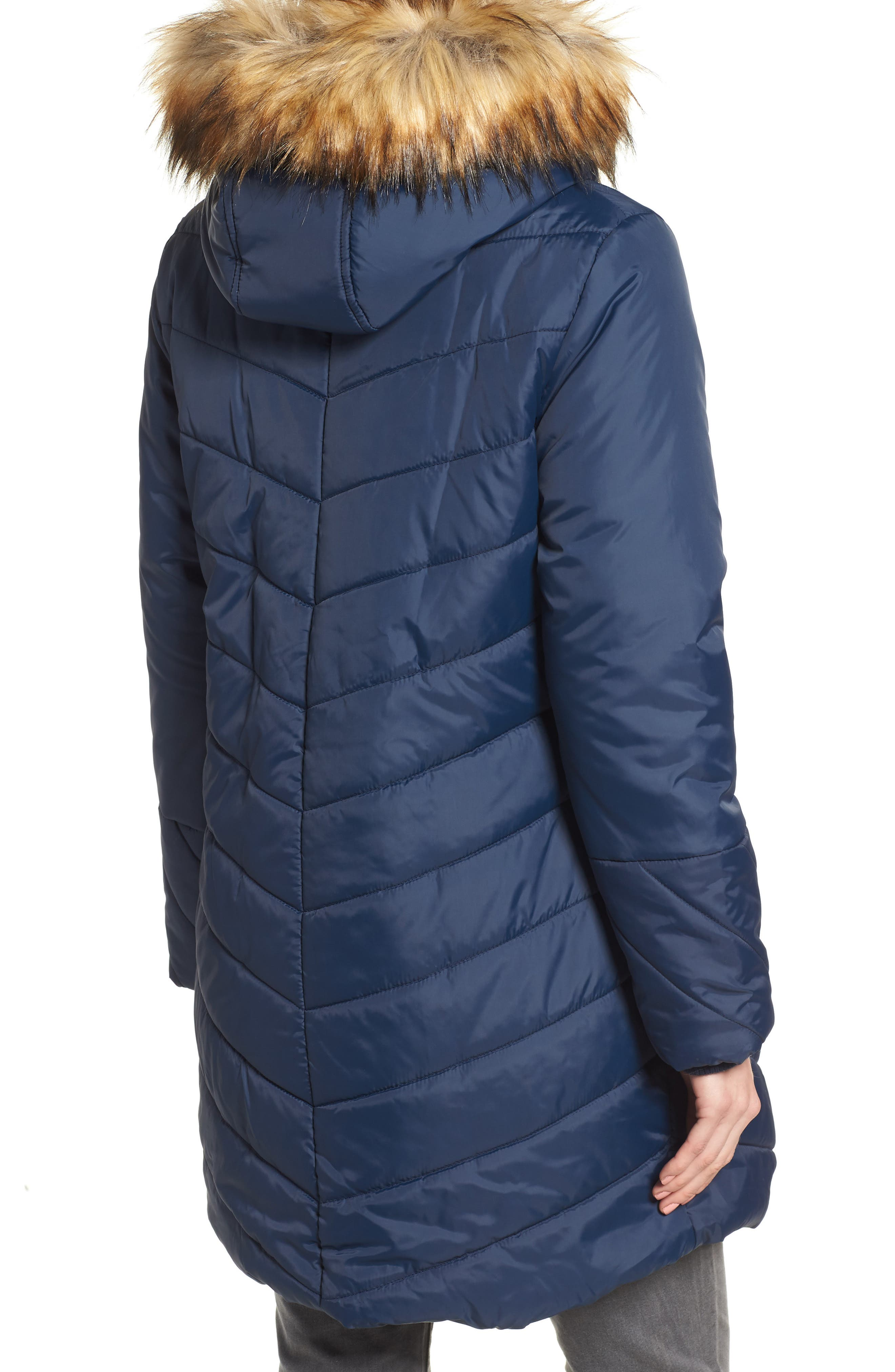 Faux Fur Trim Convertible Puffer 3-in-1 Maternity Jacket,                             Alternate thumbnail 3, color,                             Navy