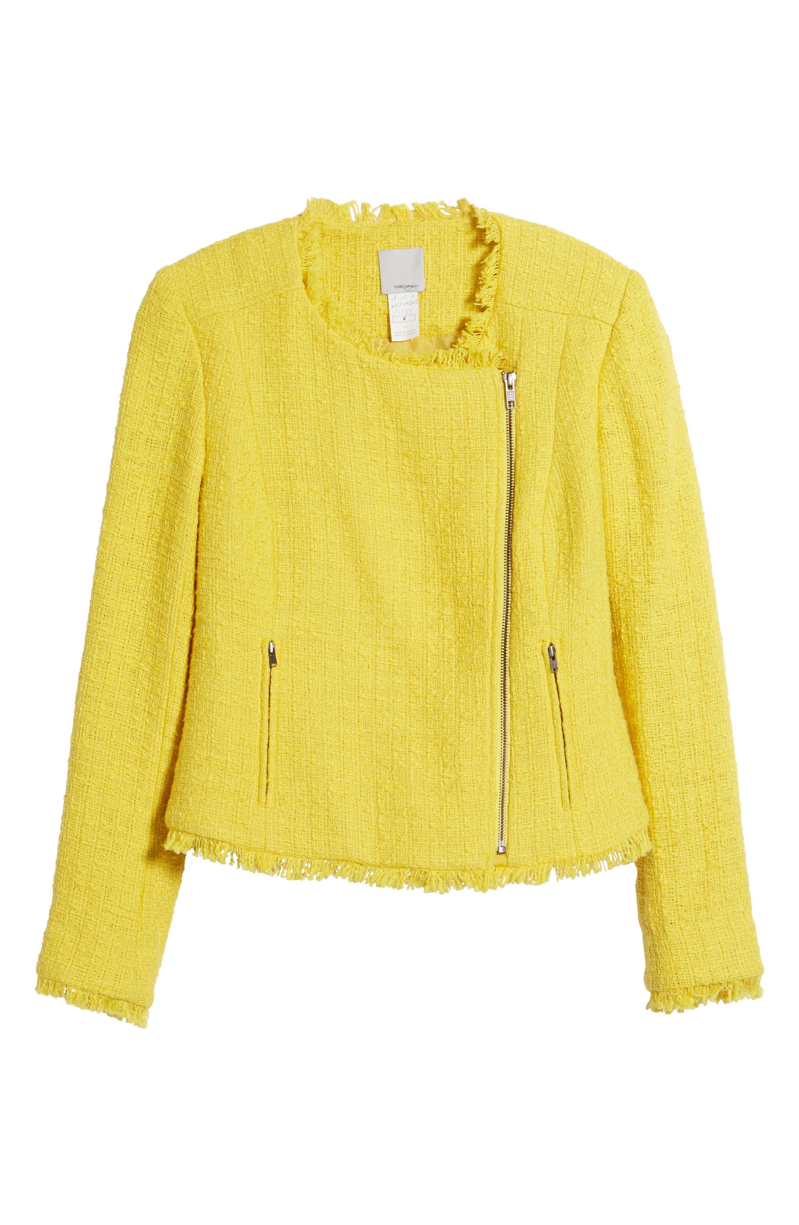 Tweed Moto Jacket,                             Alternate thumbnail 7, color,                             Yellow Maize